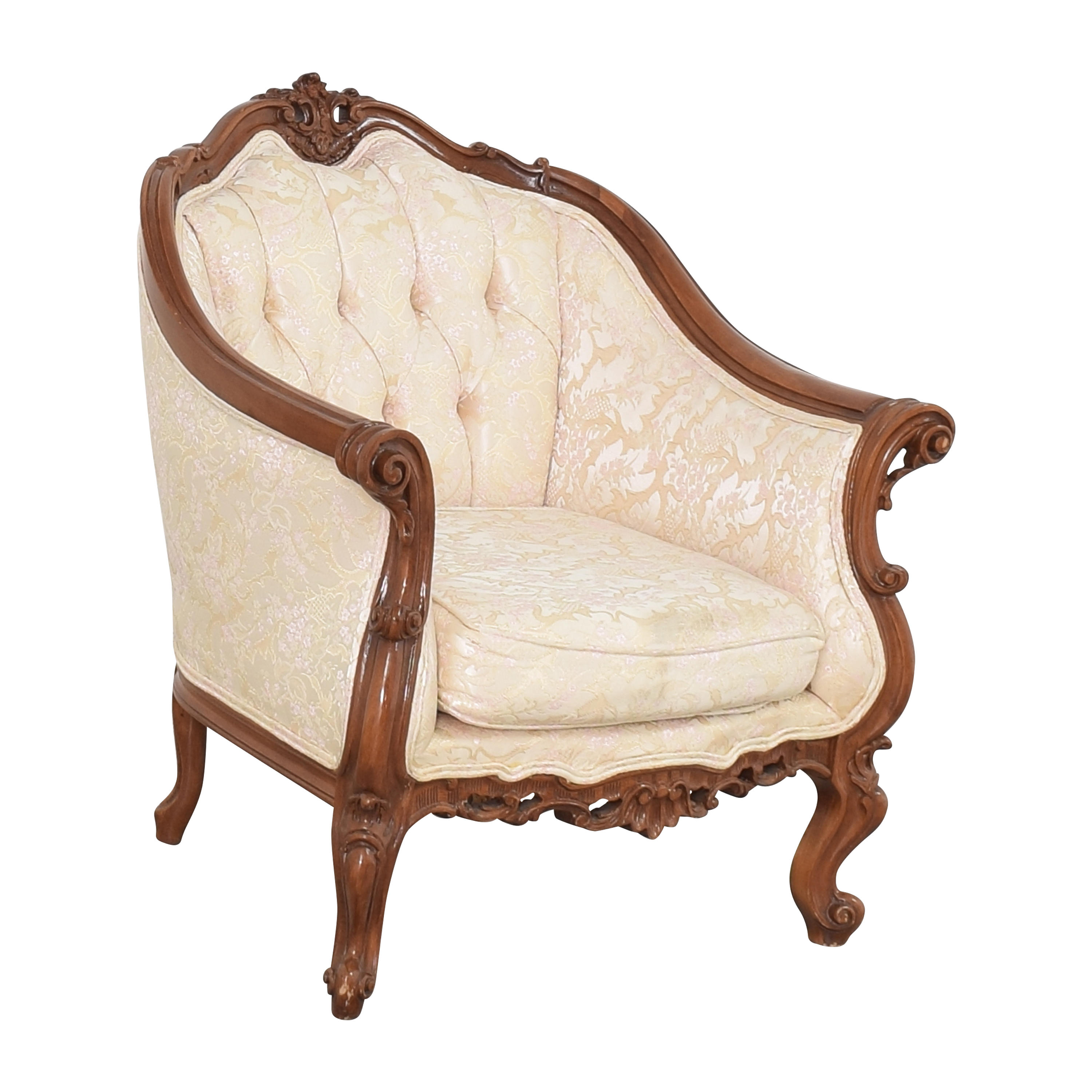 Cellini Cellini Victorian Style Accent Chair ivory & brown