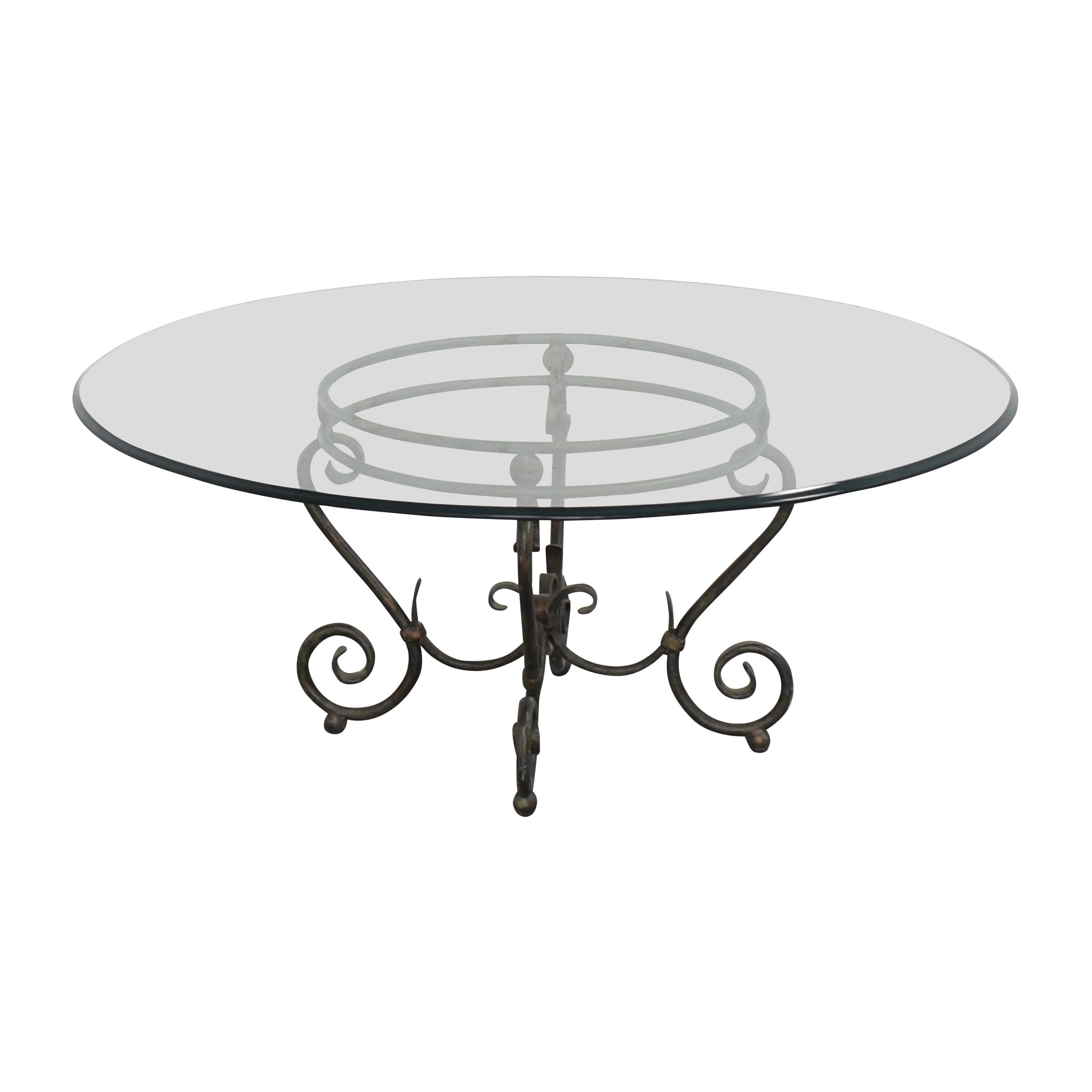 Transparent Coffee Table with Decorative Base / Tables