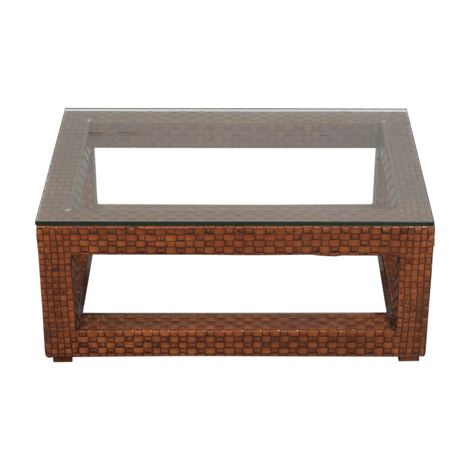 Woven Two Tier Coffee Table with Transparent Surfaces ct
