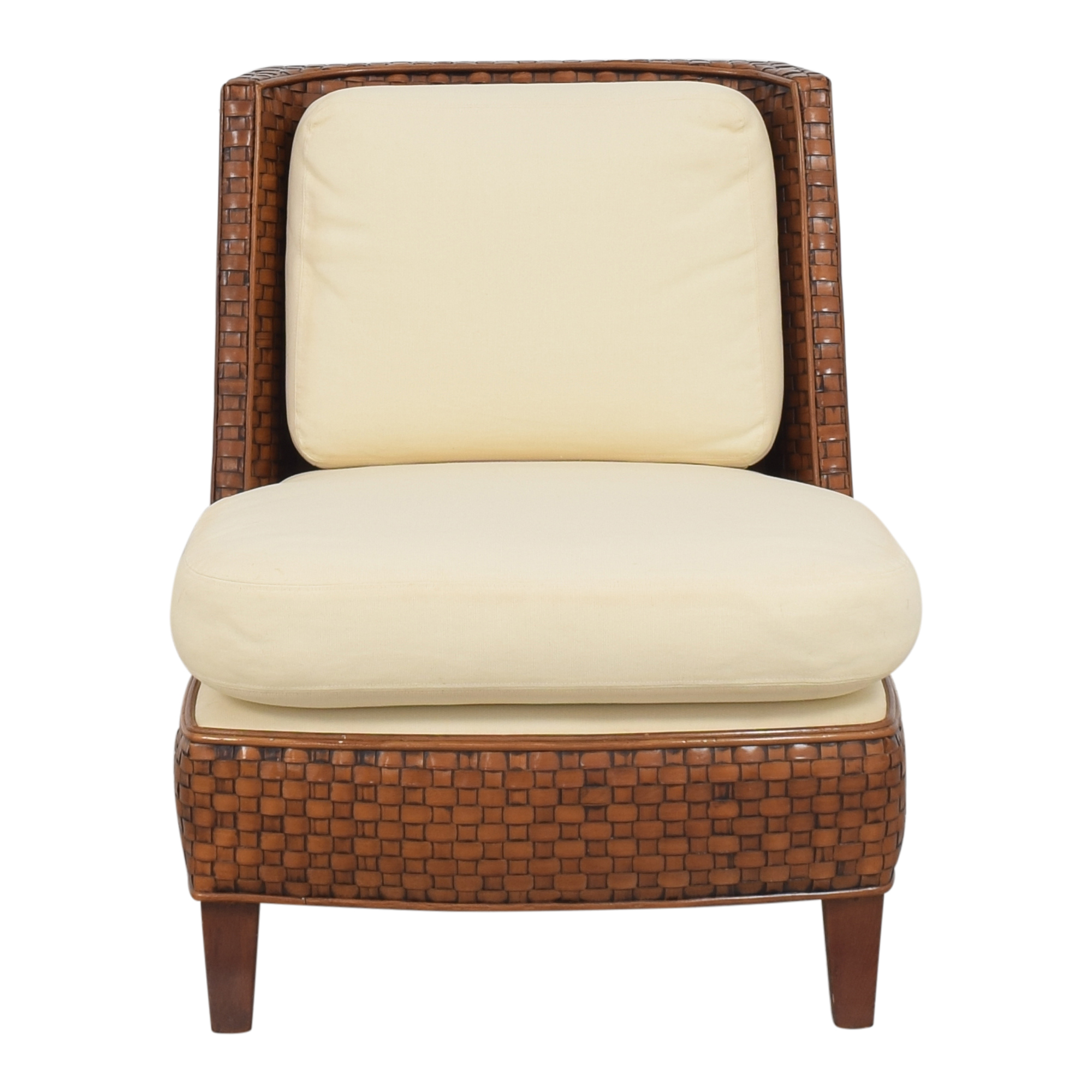 Woven Accent Chair brown and cream