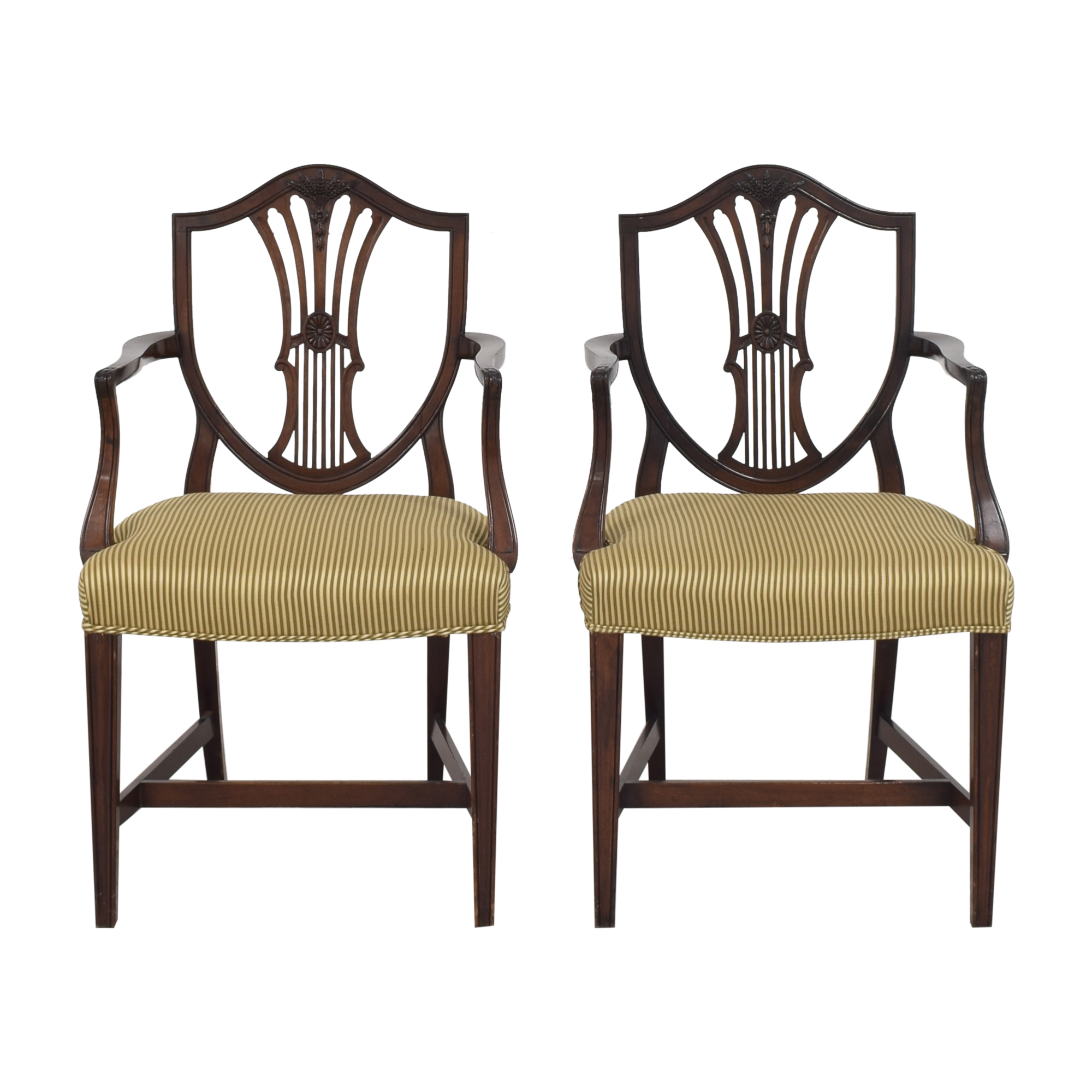 Shield Back Dining Arm Chairs brown & green
