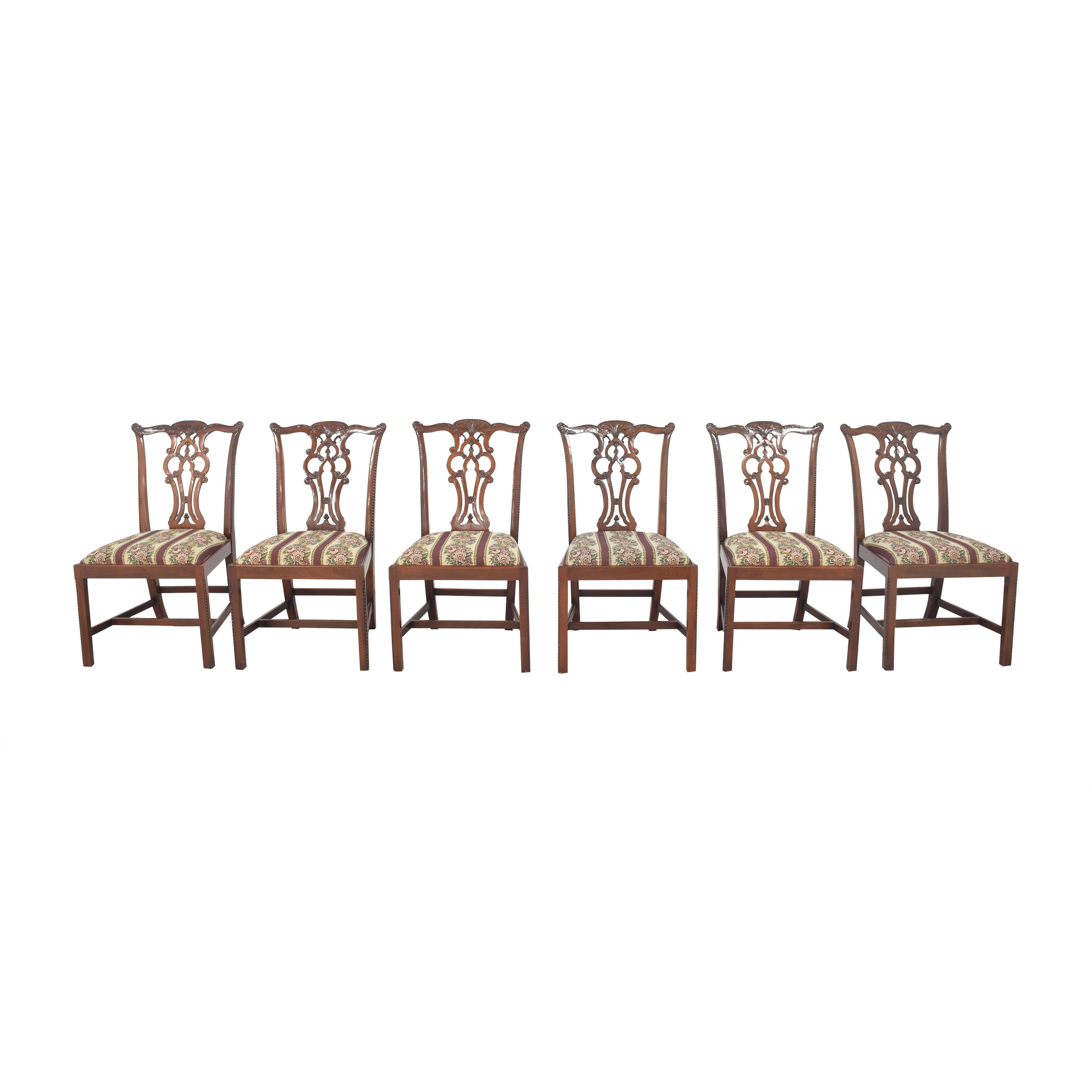 Maitland-Smith Maitland-Smith Chippendale Upholstered Dining Chairs on sale