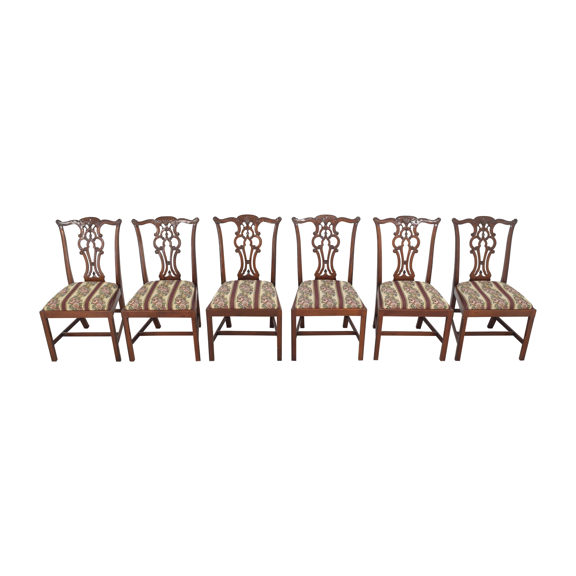 Maitland-Smith Maitland-Smith Chippendale Upholstered Dining Chairs for sale