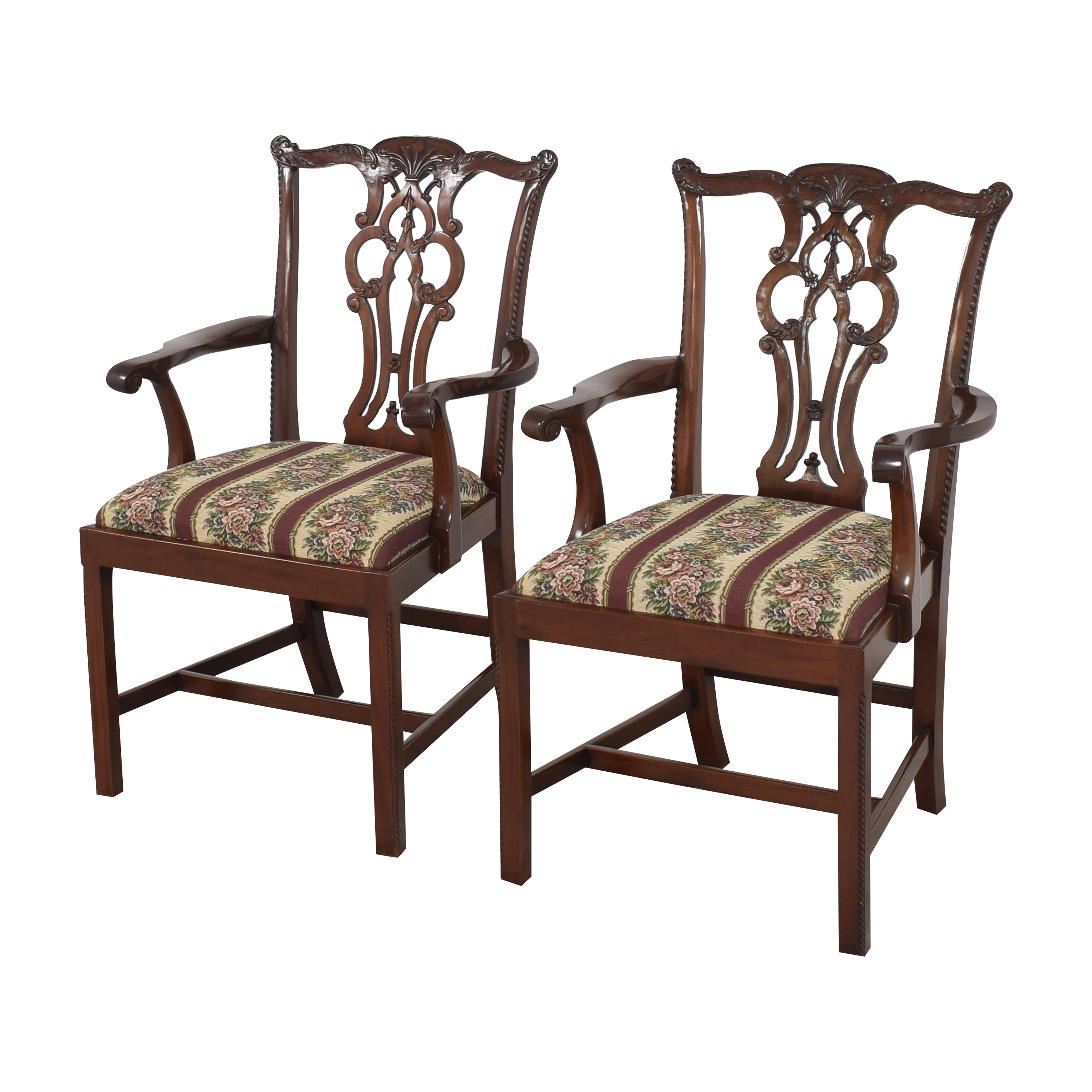 Maitland-Smith Maitland-Smith Chippendale Upholstered Dining Arm Chairs discount