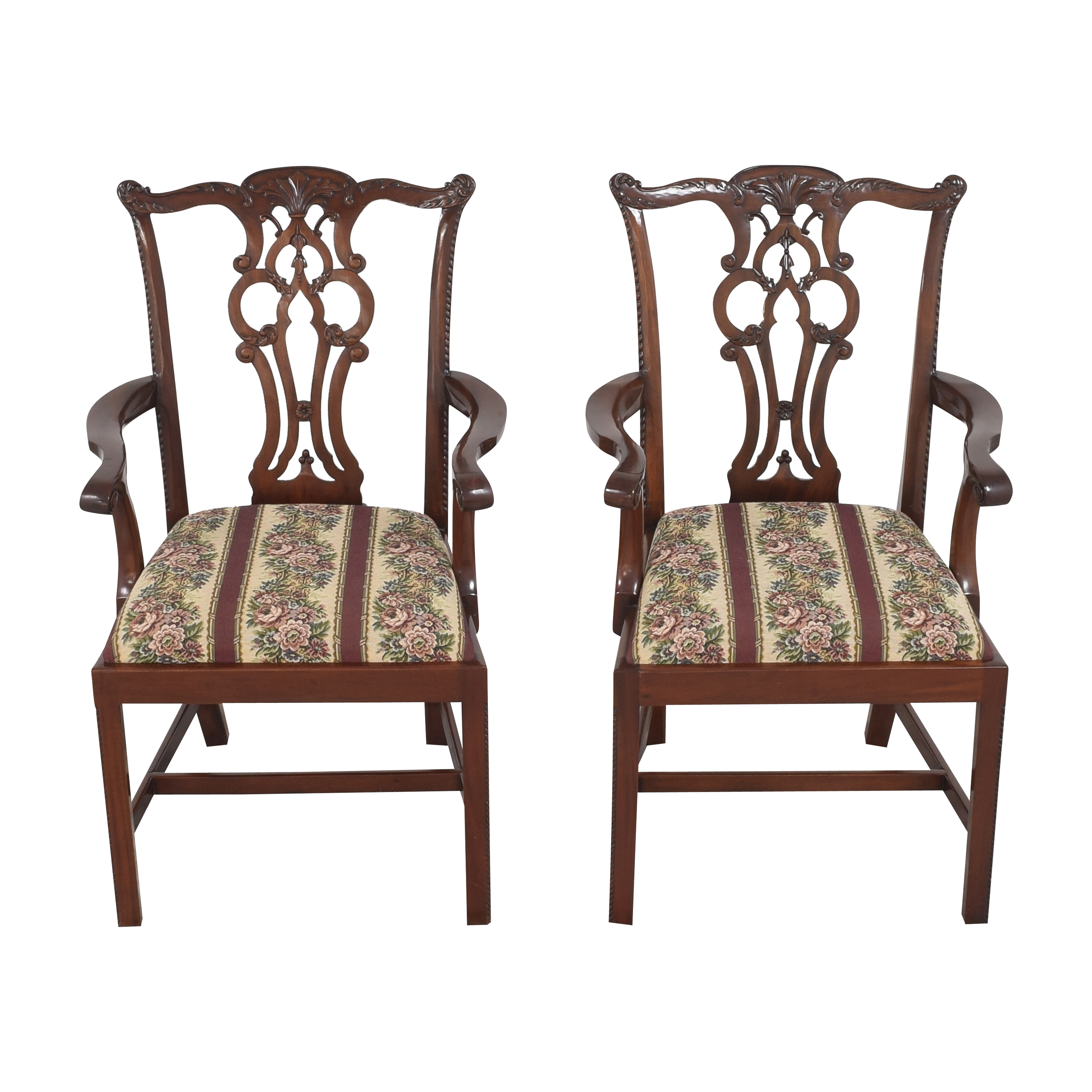 Maitland-Smith Maitland-Smith Chippendale Upholstered Dining Arm Chairs on sale