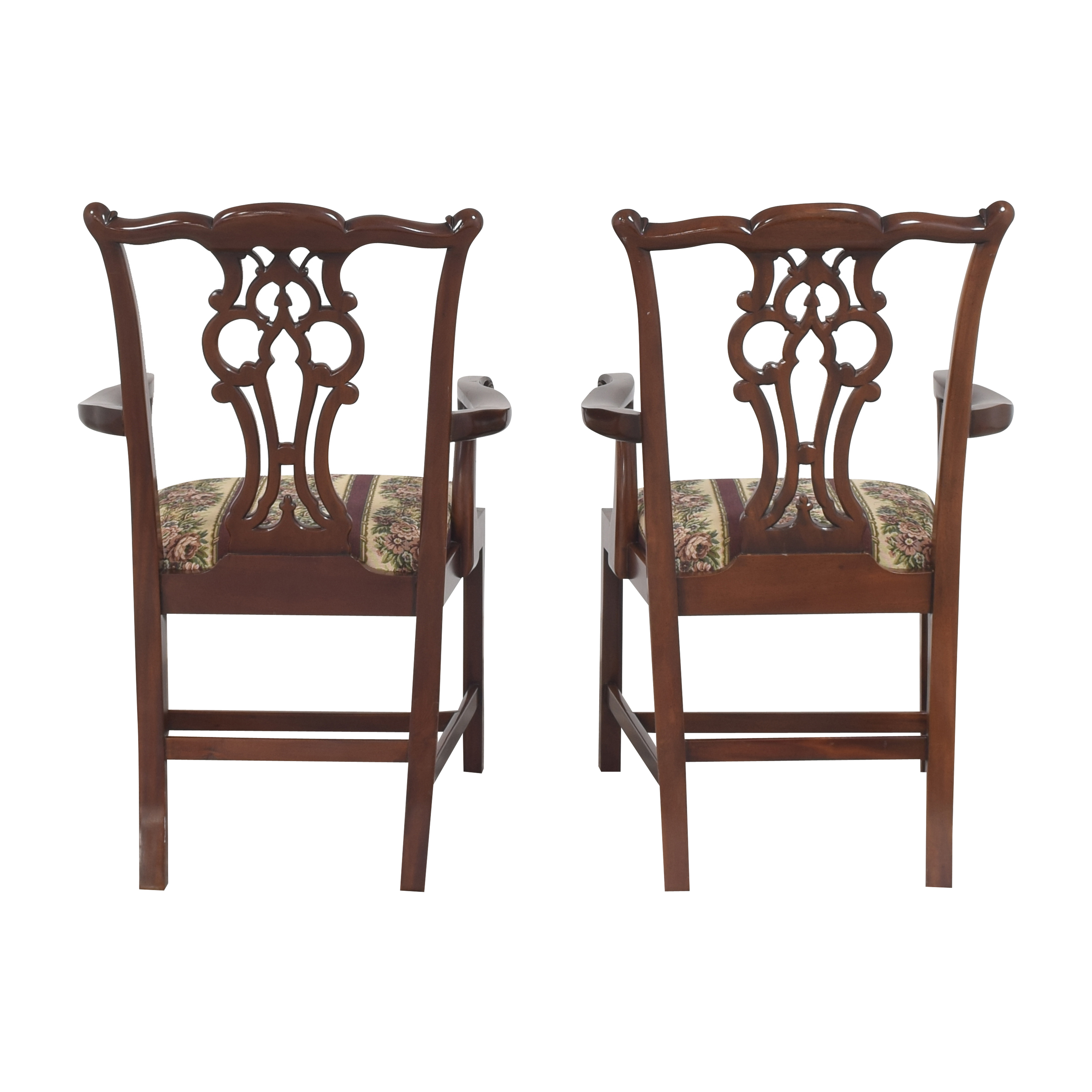 Maitland-Smith Maitland-Smith Chippendale Upholstered Dining Arm Chairs Chairs
