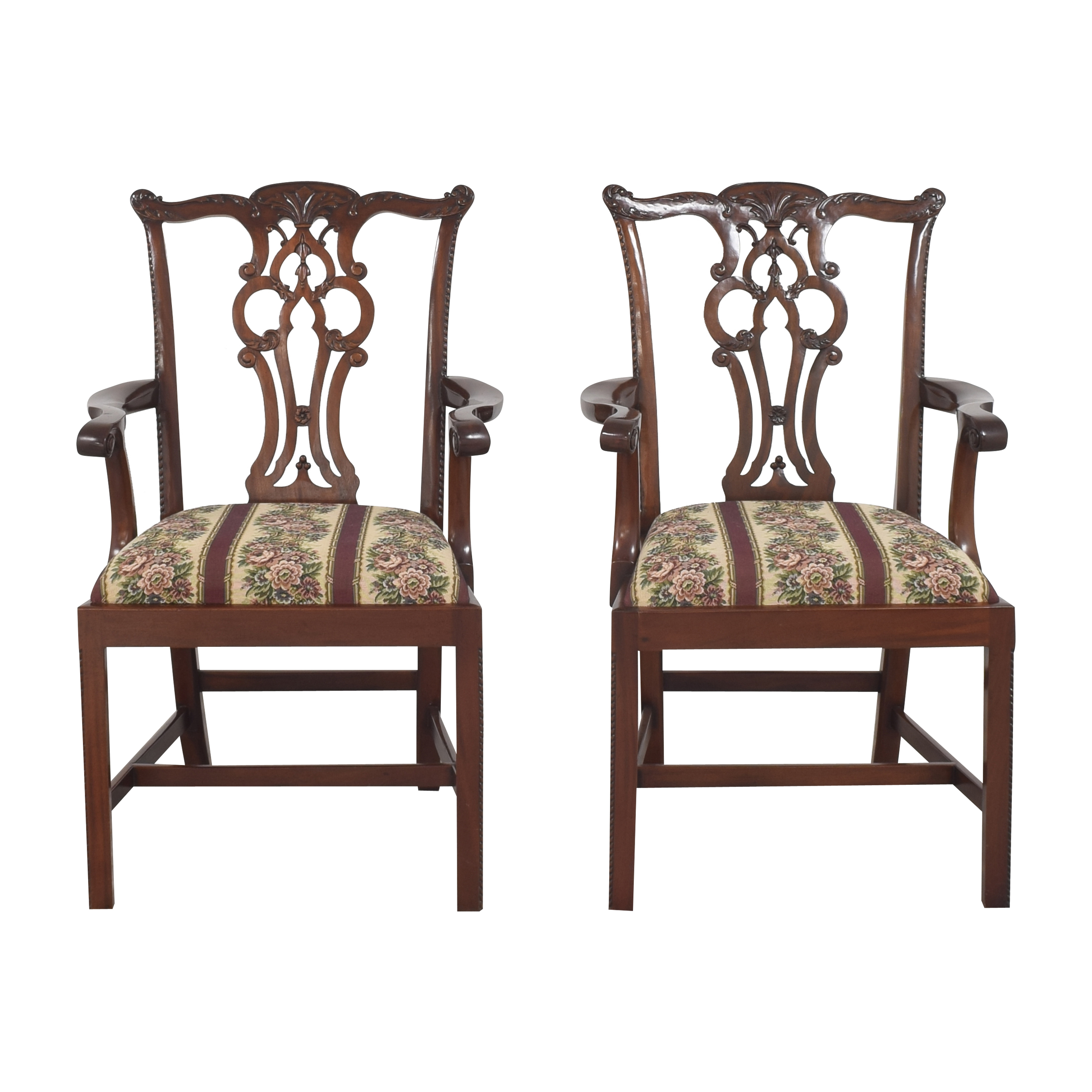 Maitland-Smith Chippendale Upholstered Dining Arm Chairs Maitland-Smith