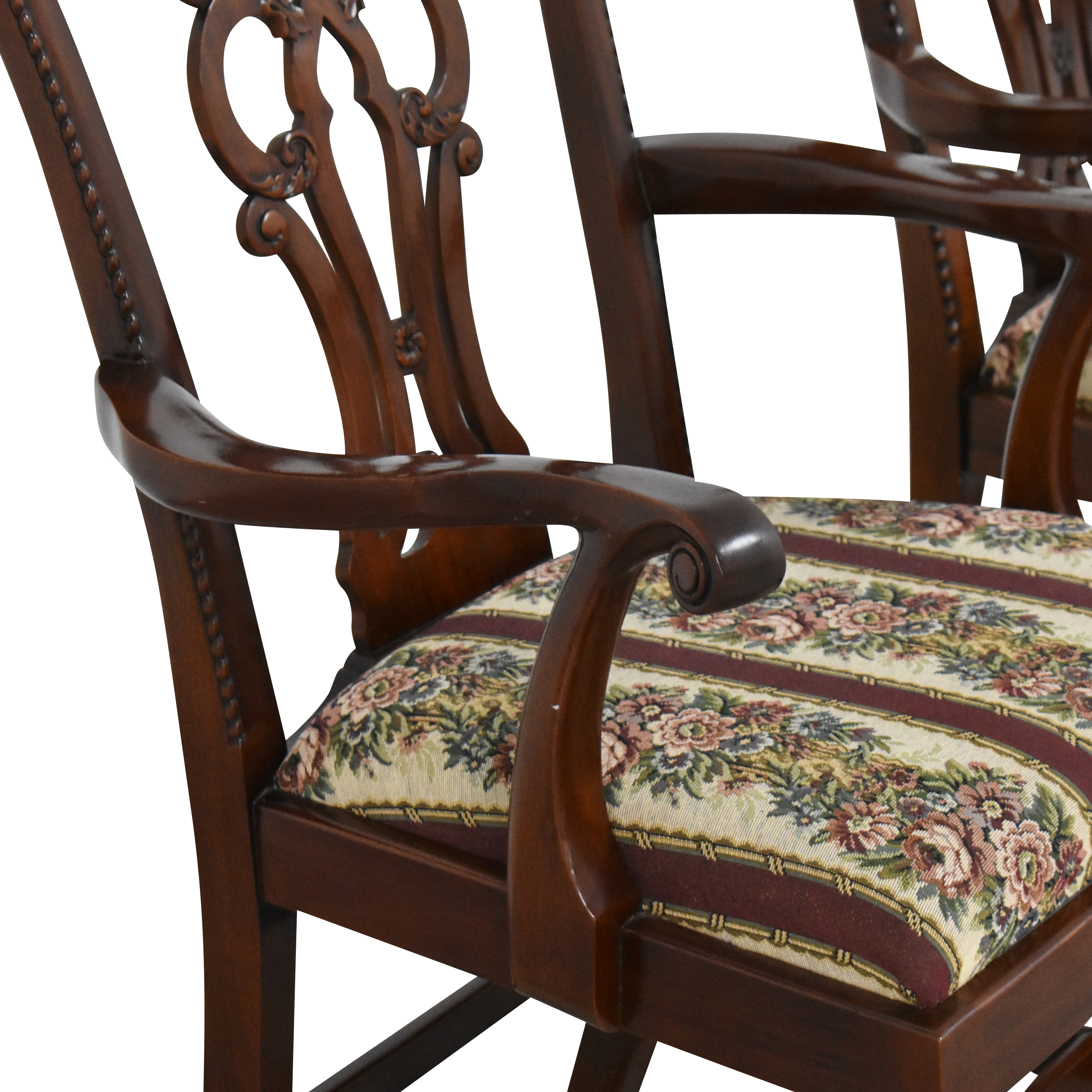 buy Maitland-Smith Chippendale Upholstered Dining Arm Chairs Maitland-Smith Dining Chairs