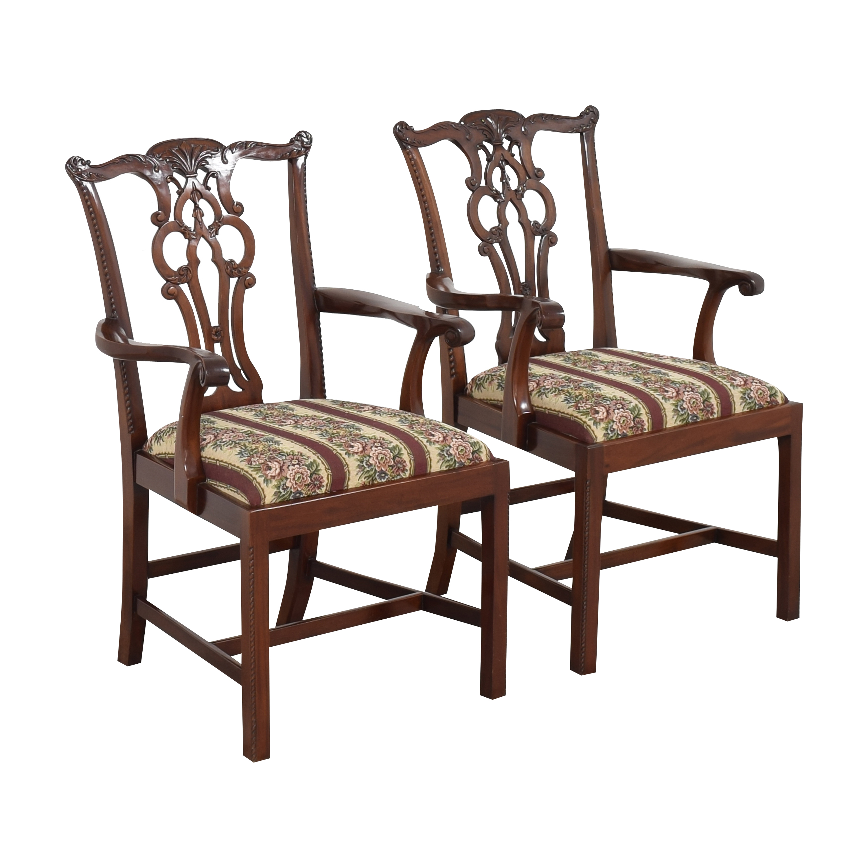 shop Maitland-Smith Maitland-Smith Chippendale Upholstered Dining Arm Chairs online
