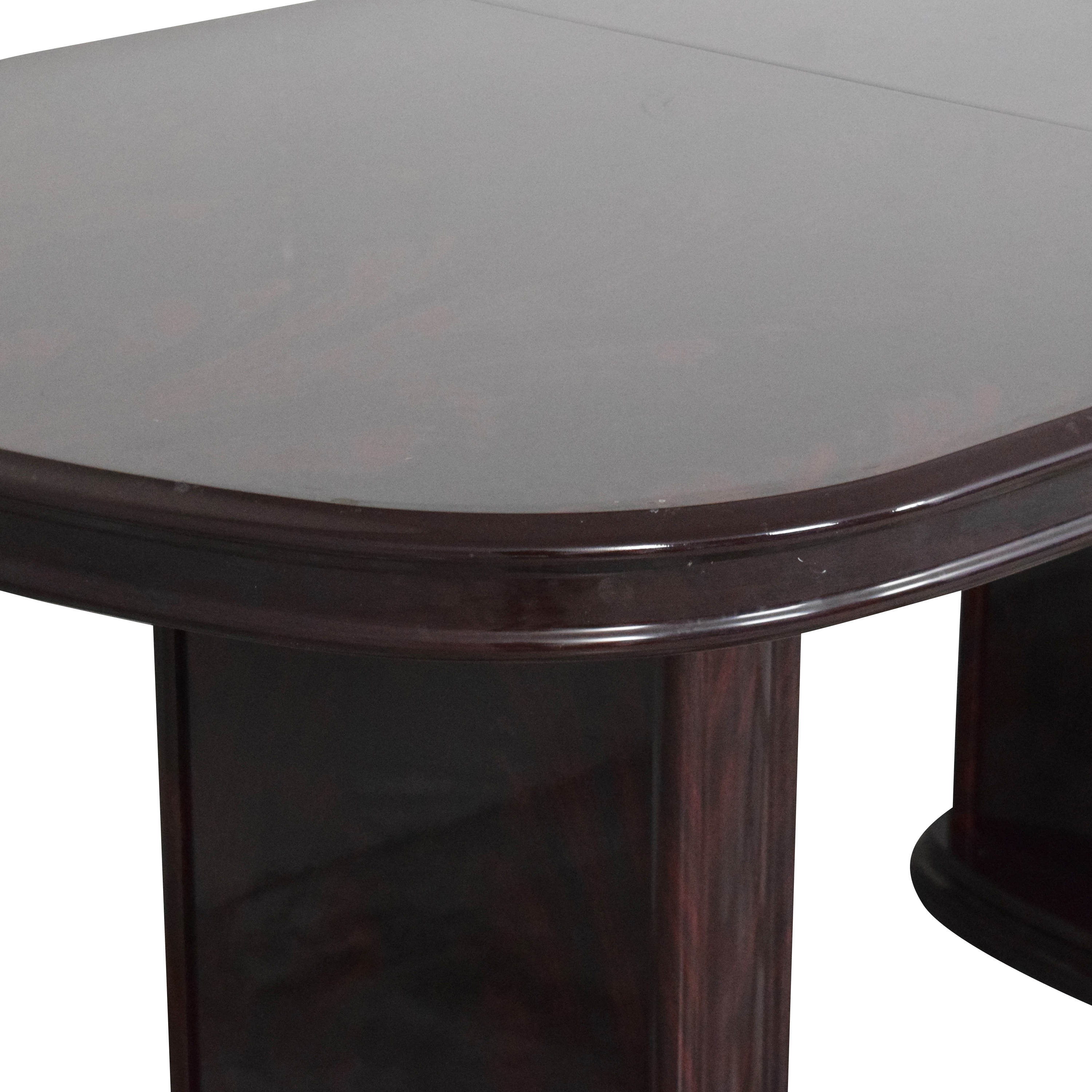 Raymour & Flanigan Two Pedestal Dining Table / Tables