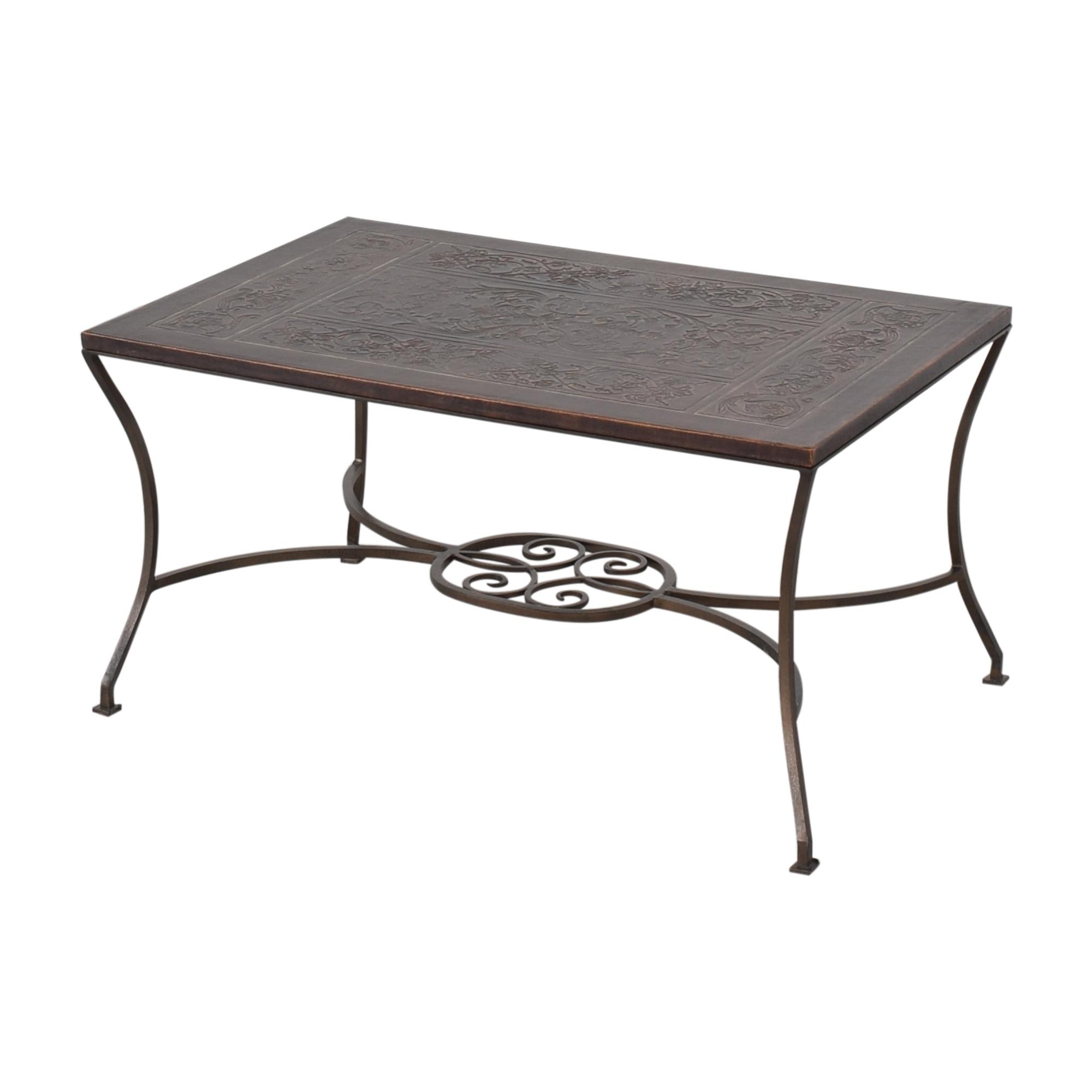 Embossed Inlay Coffee Table dark brown
