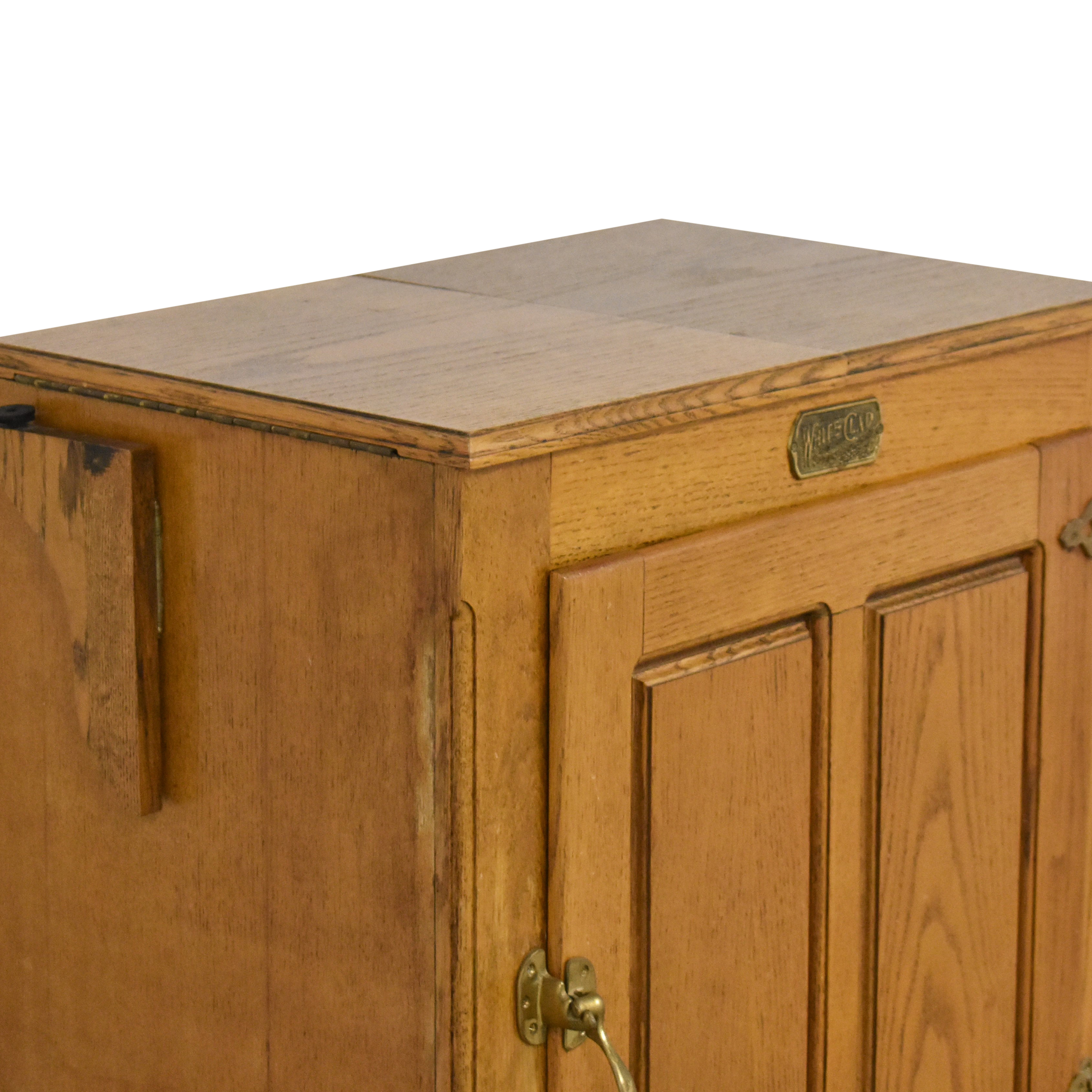 Simmons Hardware Simmons Hardware White Clad Ice Box Wine Cabinet on Casters Cabinets & Sideboards