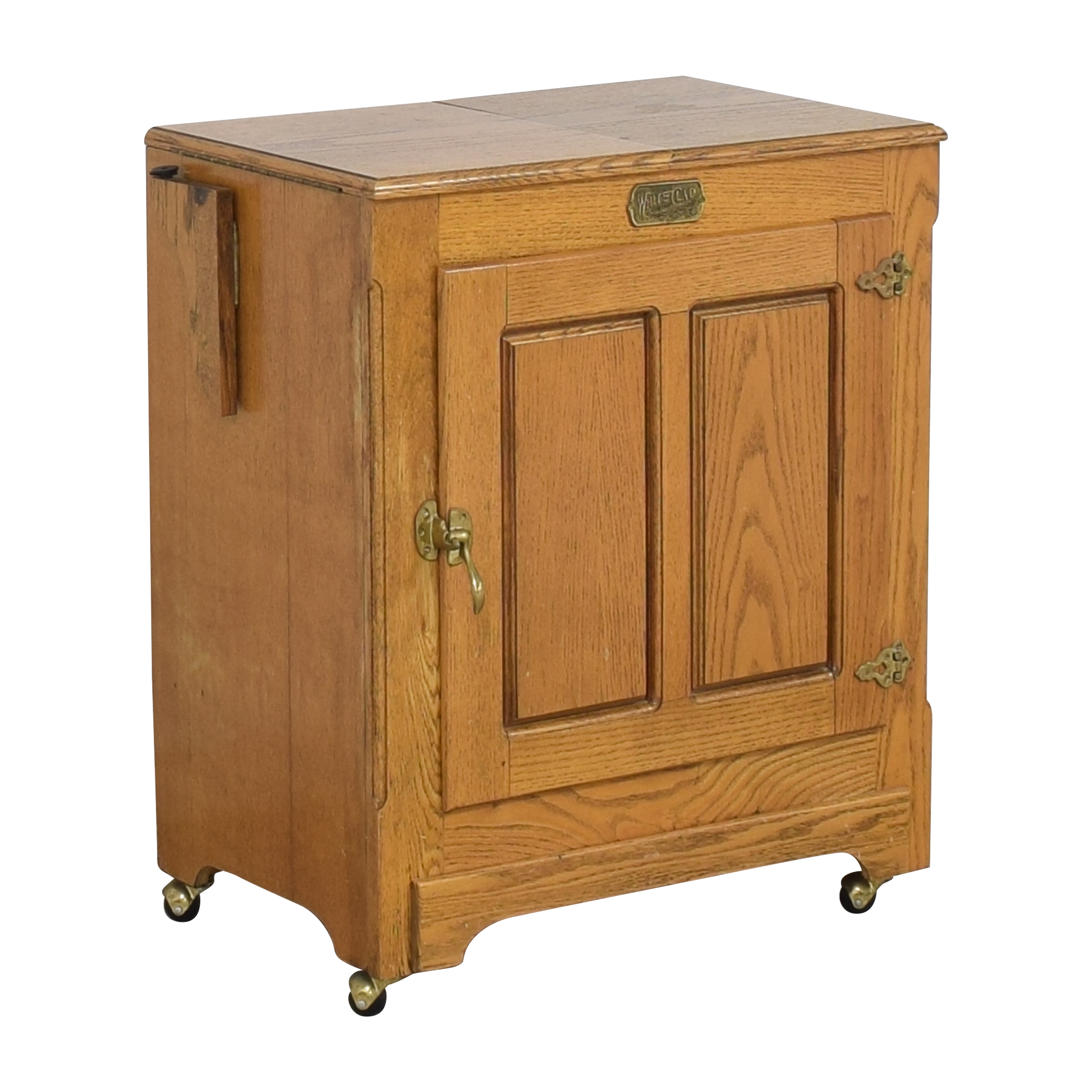 Simmons Hardware Simmons Hardware White Clad Ice Box Wine Cabinet on Casters ct