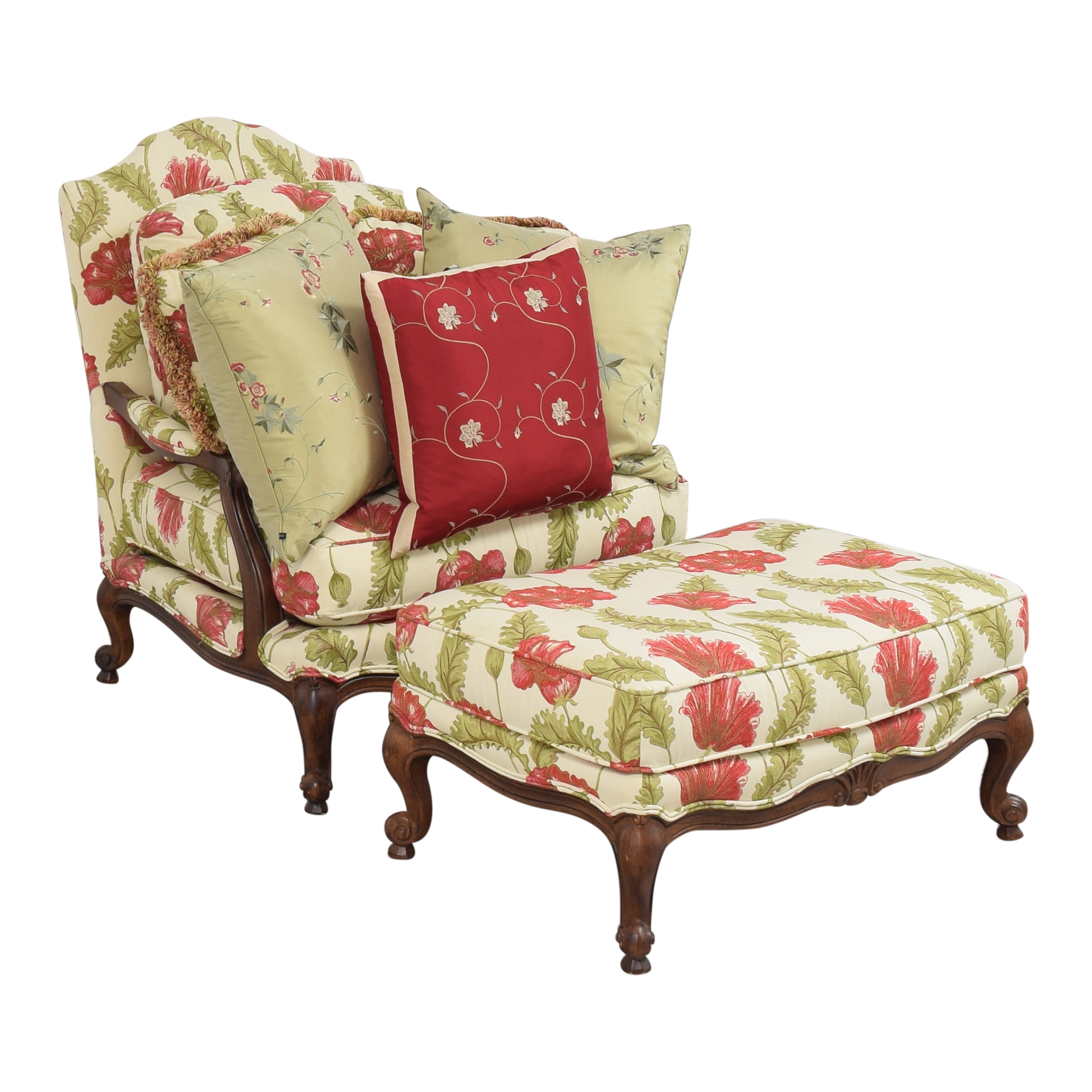 Clayton Marcus Floral Chair with Ottoman / Accent Chairs