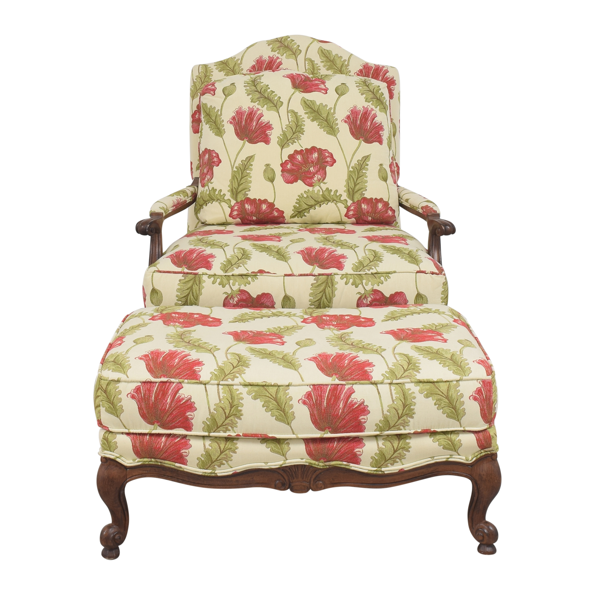Clayton Marcus Floral Chair with Ottoman sale