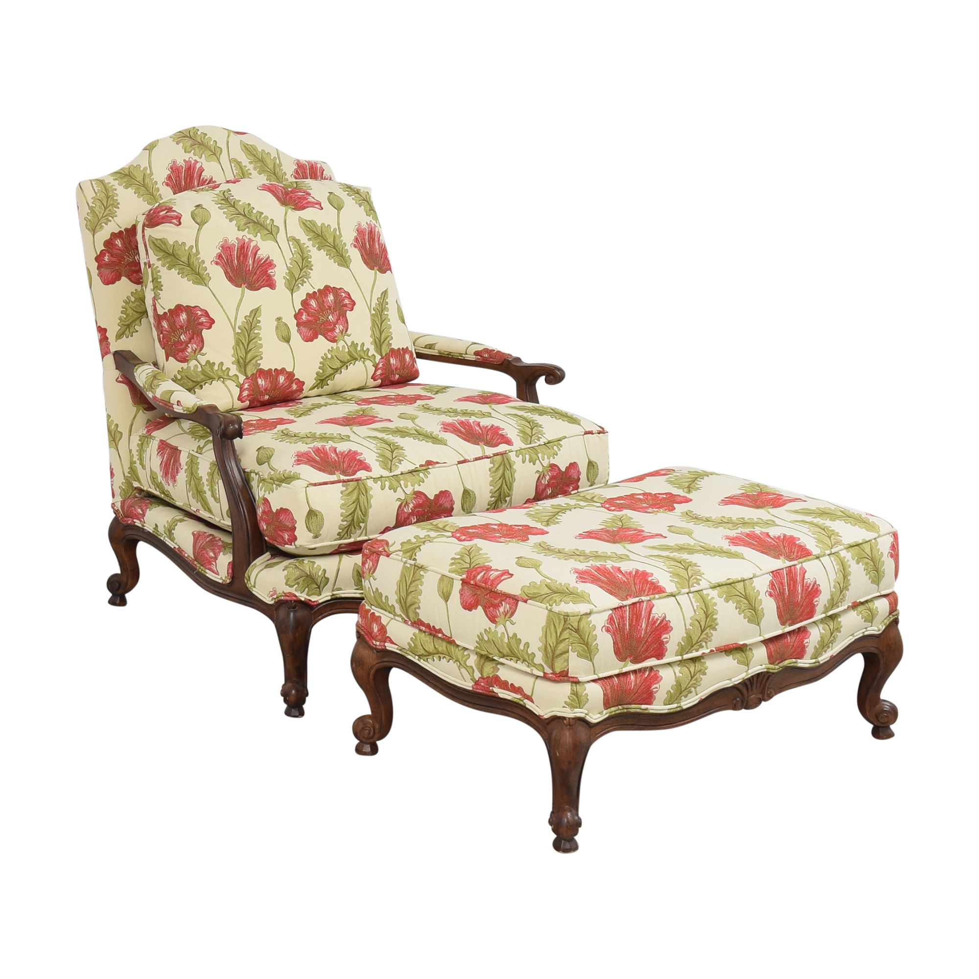 Clayton Marcus Clayton Marcus Floral Chair with Ottoman Accent Chairs