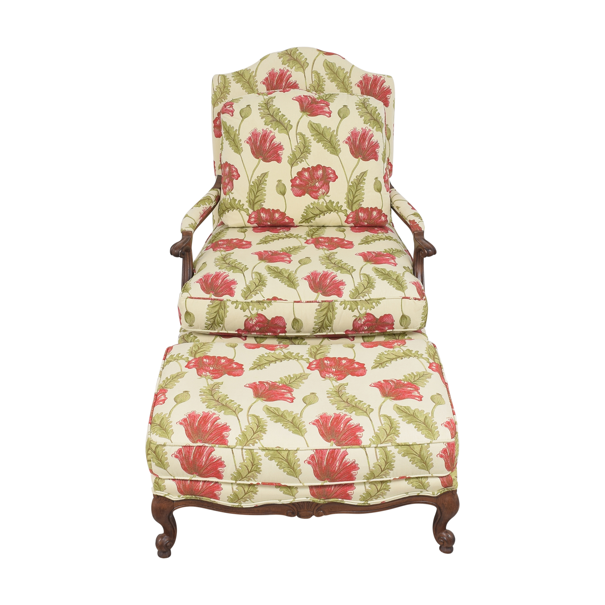 shop Clayton Marcus Floral Chair with Ottoman Clayton Marcus