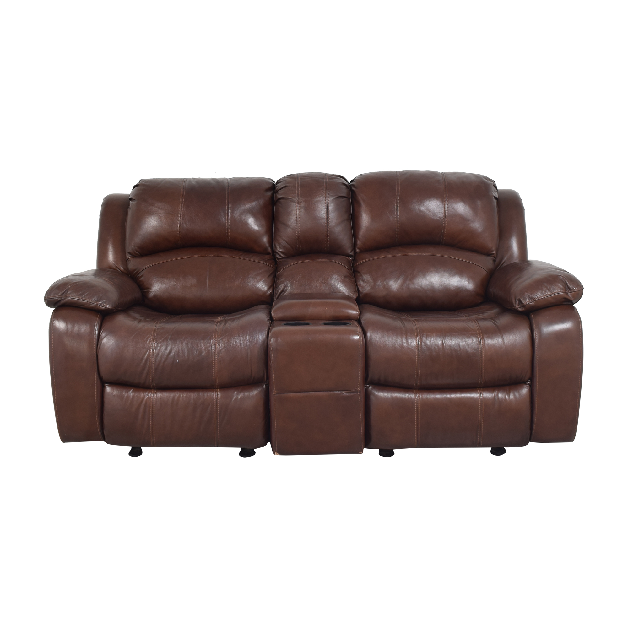Raymour & Flanigan Raymour & Flanigan Double Rocker Reclining Loveseat brown