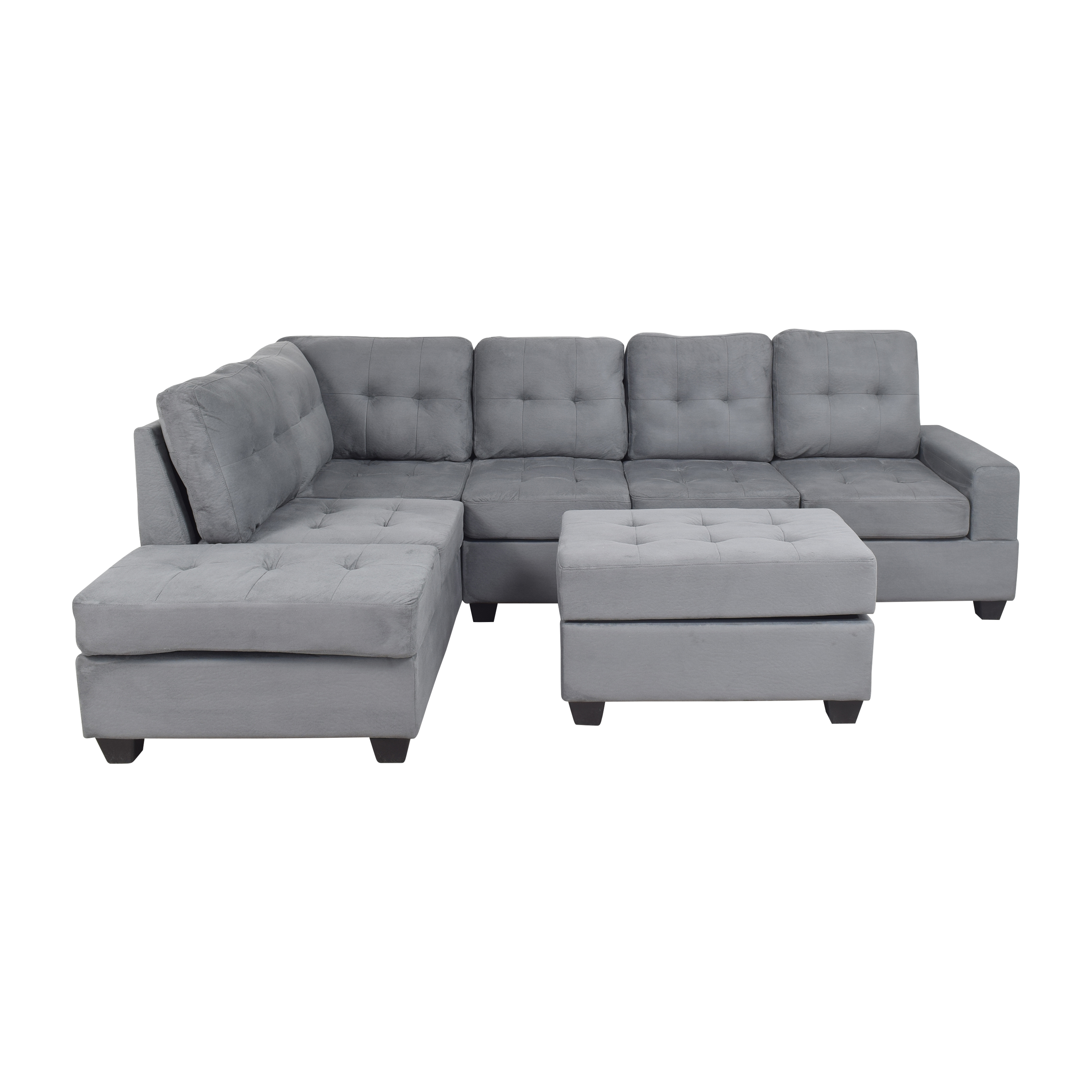 shop Walmart Walmart Reversible Chaise Sectional with Storage Ottoman online