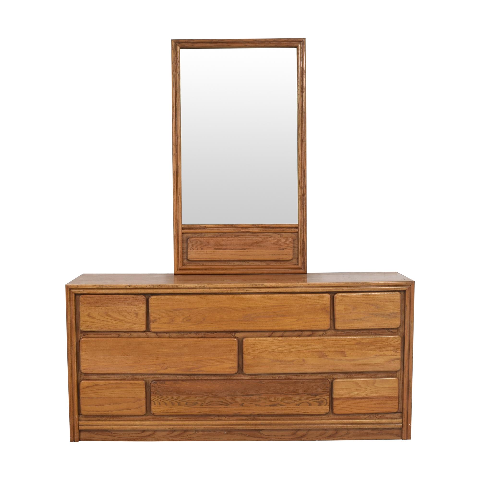 shop Bassett Furniture Eight Drawer Dresser with Mirror Bassett Furniture