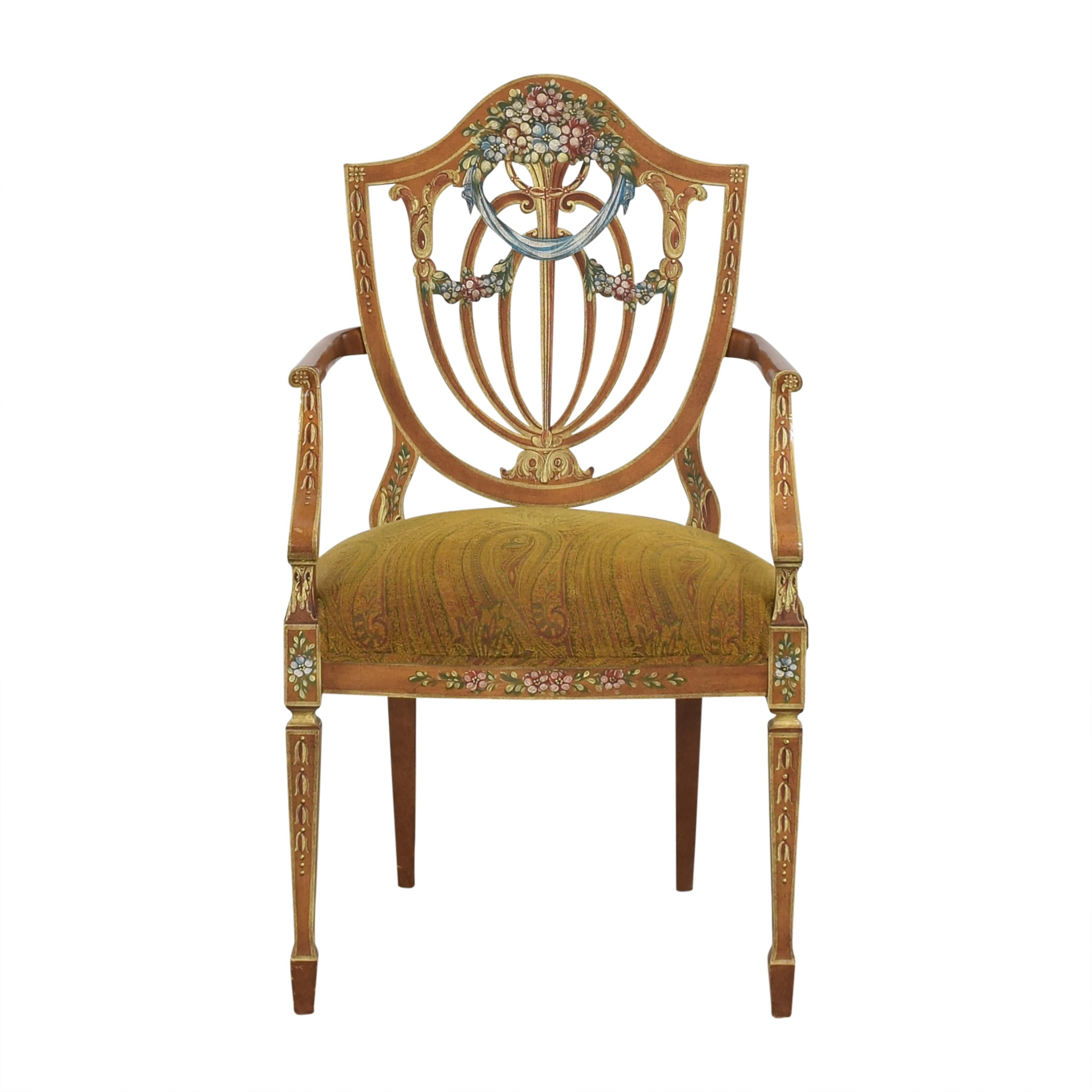 Upholstered Shield Back Arm Chair  second hand