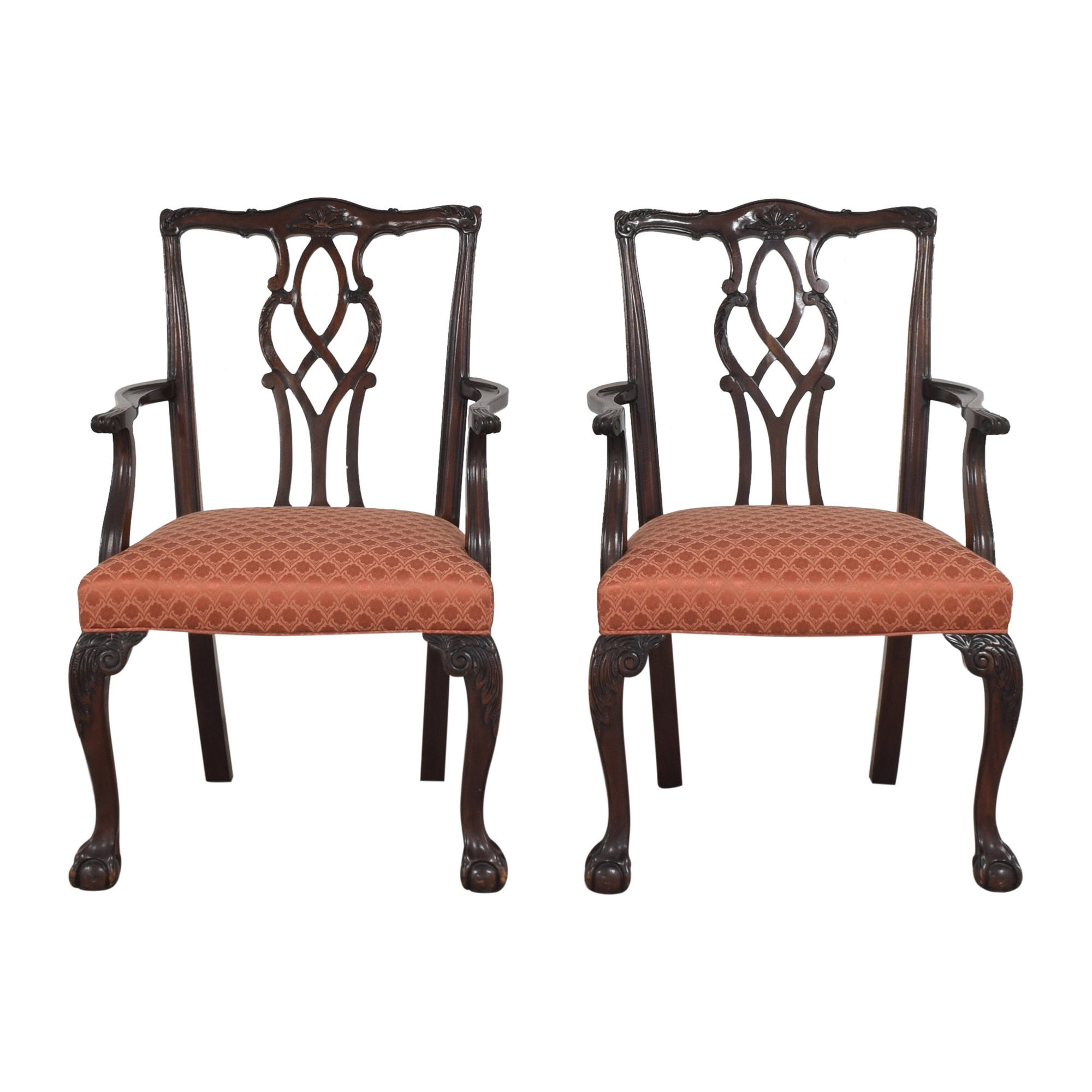Chippendale Ball and Claw Dining Arm Chairs dimensions