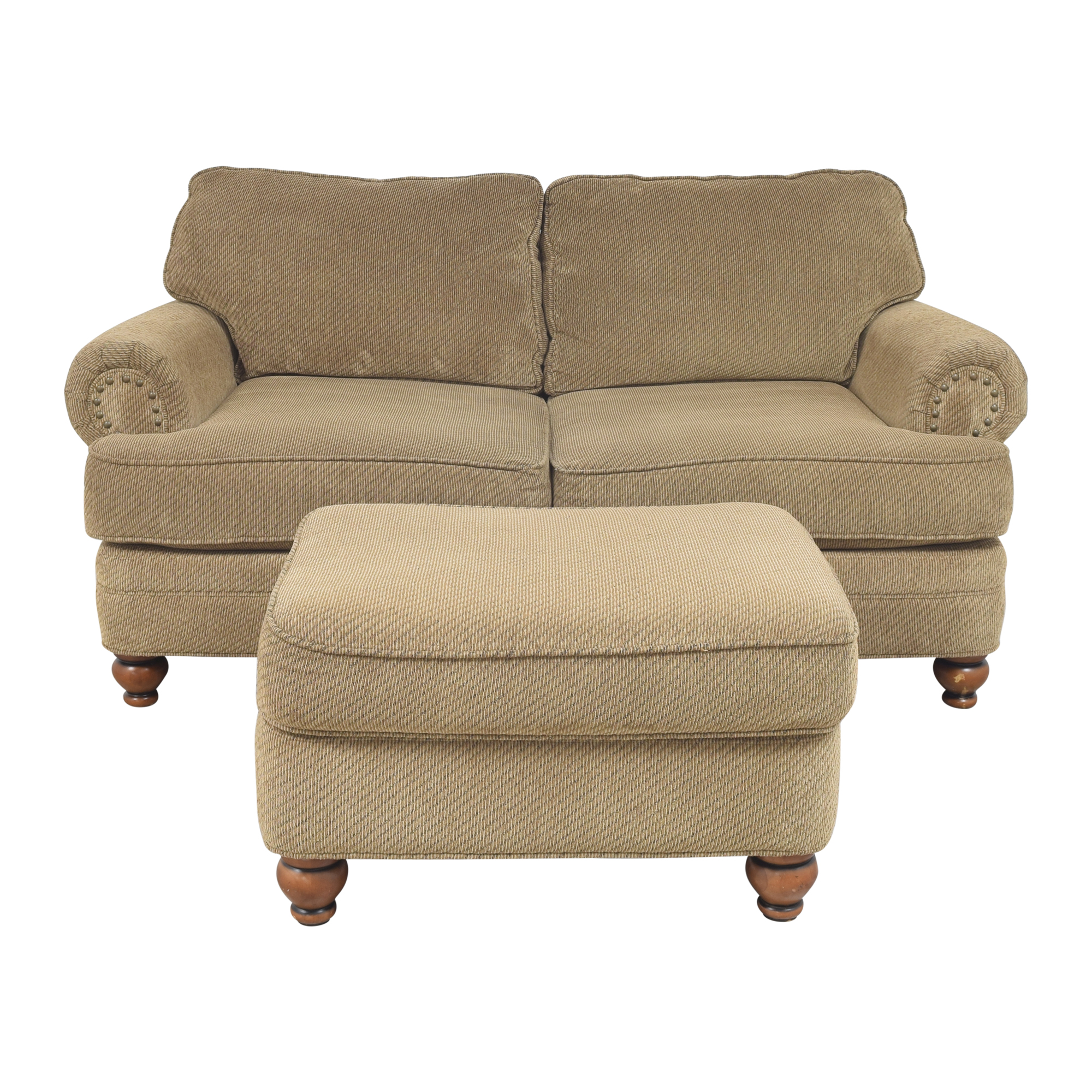 Raymour & Flanigan Dorian Loveseat with Ottoman sale
