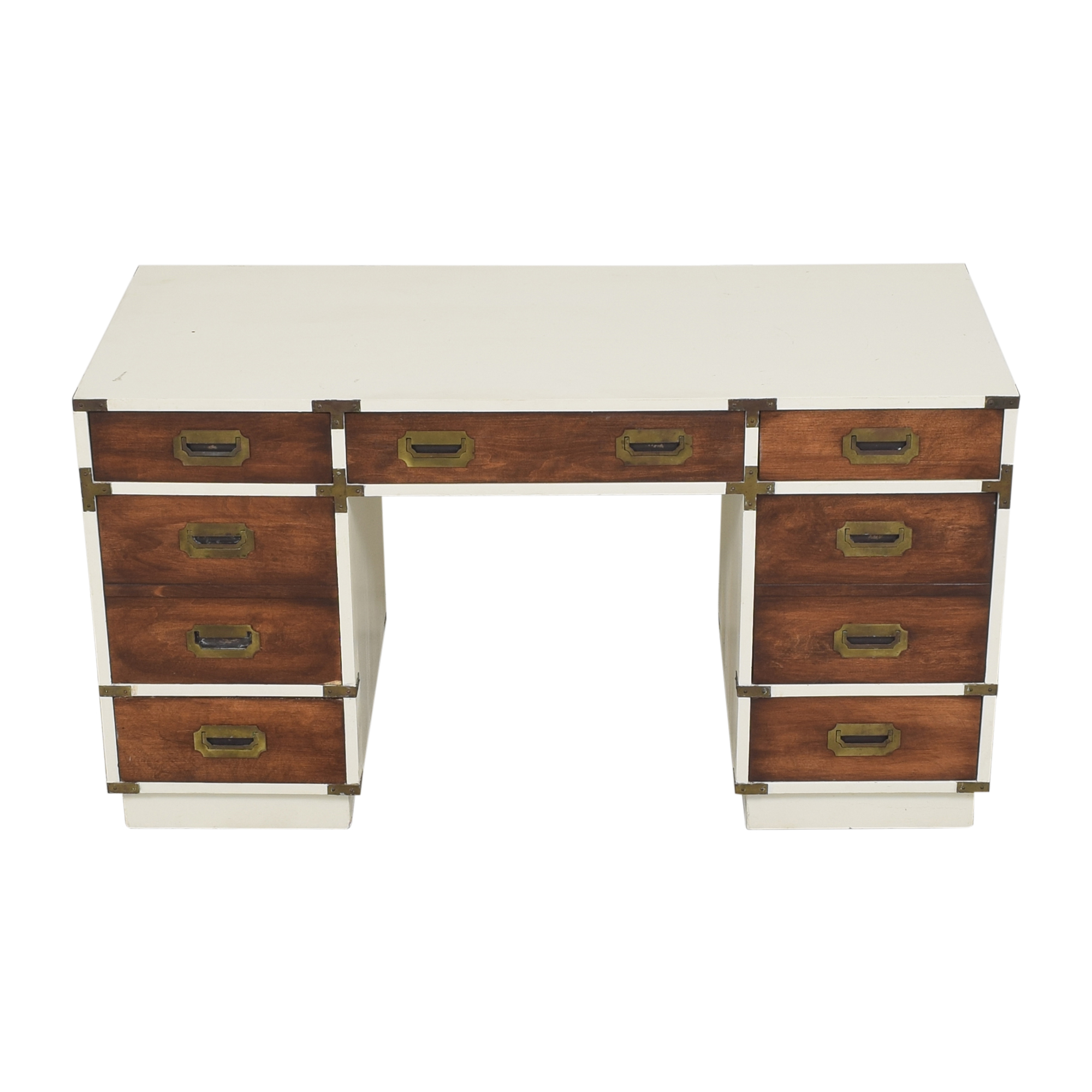 Campaign-Style Executive Desk off white & brown