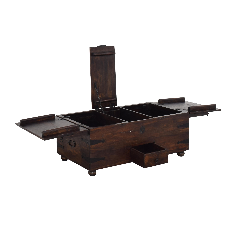 Crate & Barrel Taka Trunk Storage Coffee Table sale