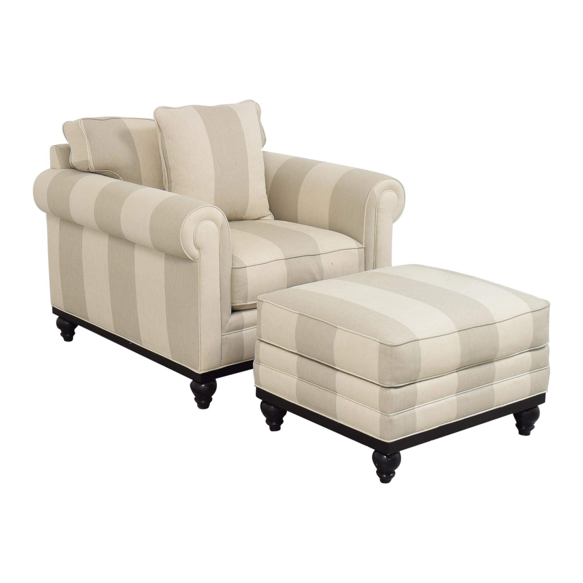 shop Macy's Martha Stewart Collection Stripe Club Chair and Ottoman Macy's
