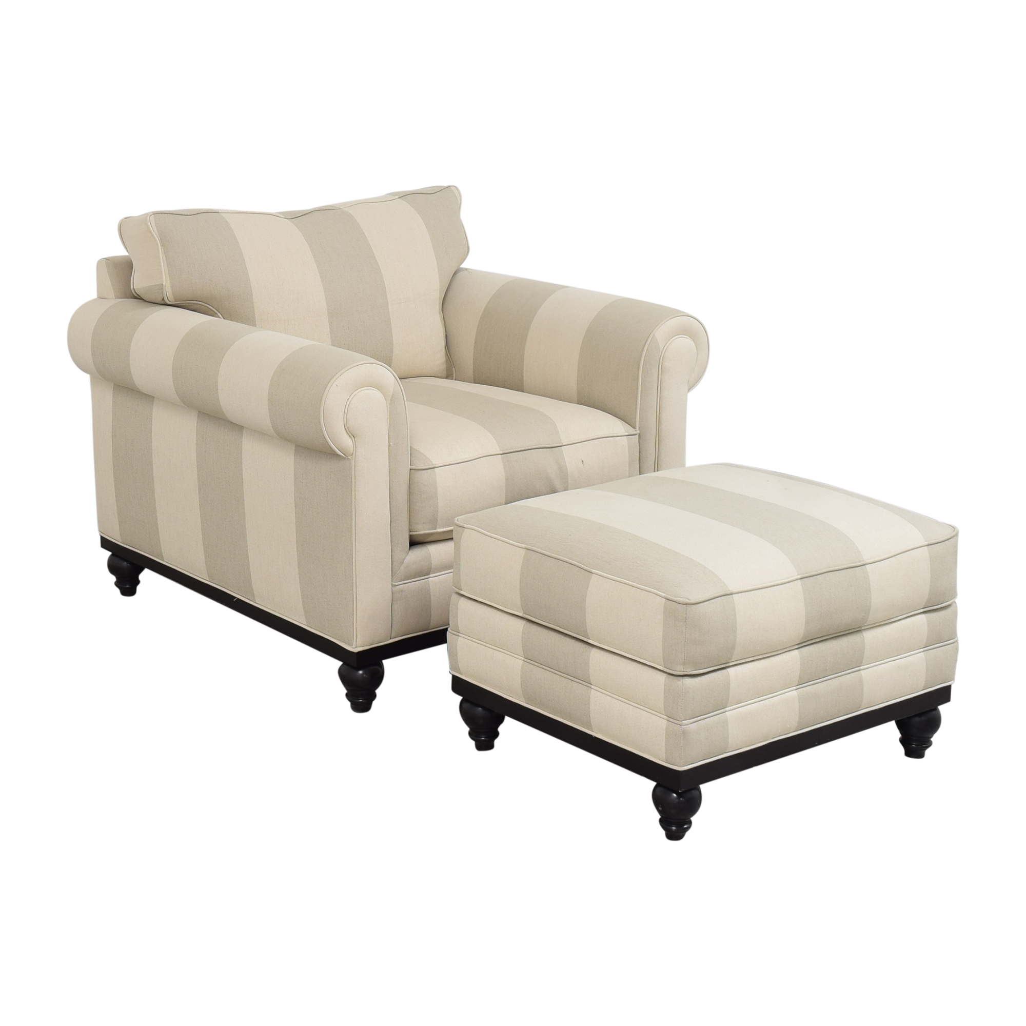 Macy's Macy's Martha Stewart Collection Stripe Club Chair and Ottoman second hand