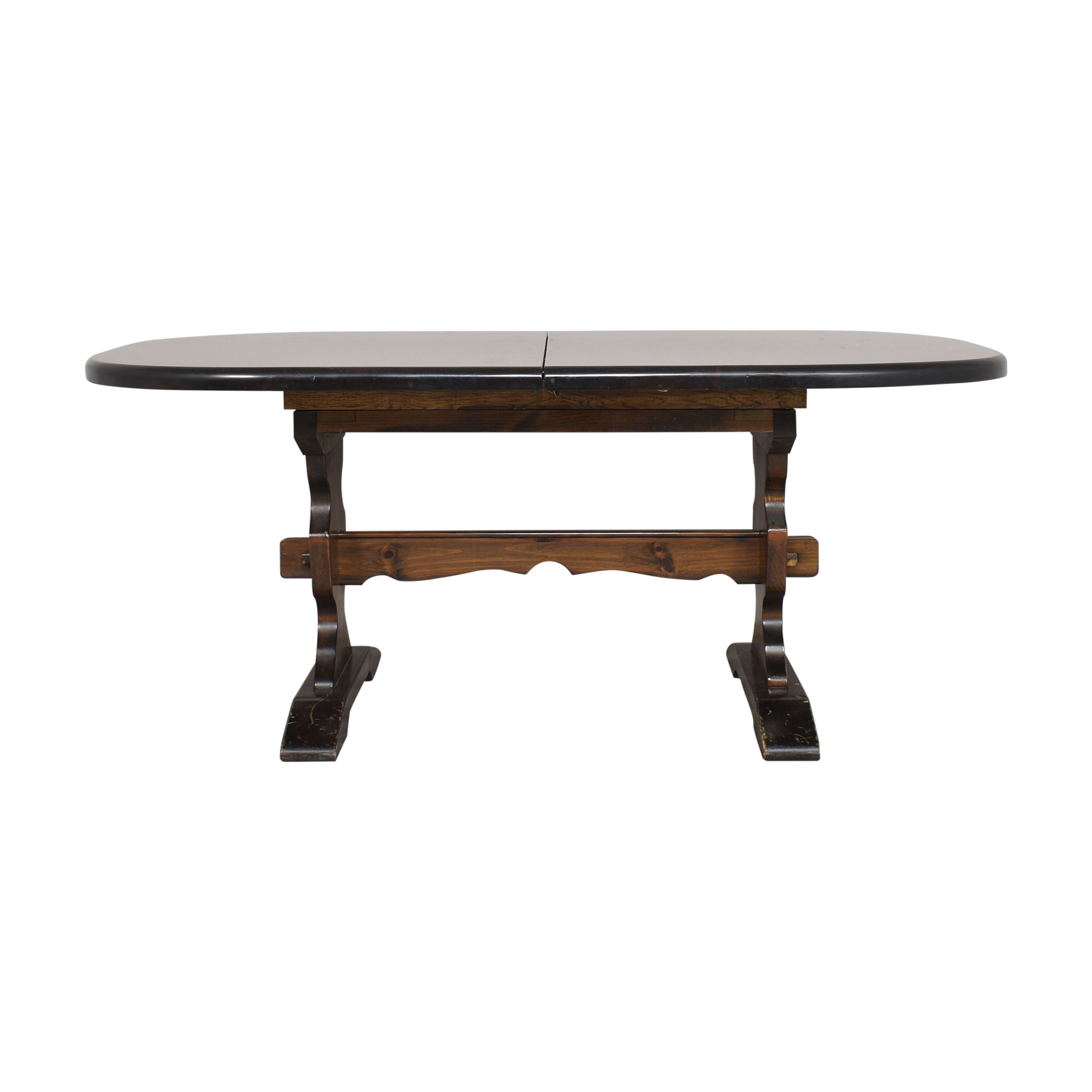 Bennington Pine Bennington Pine Extendable Trestle Dining Table dark brown