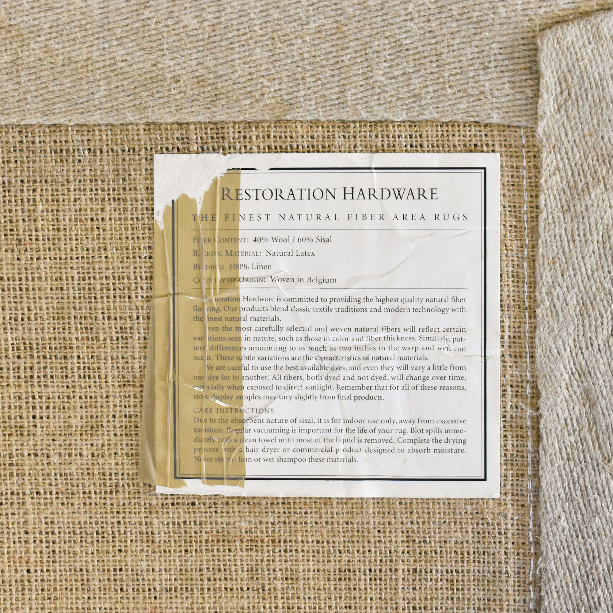 shop Restoration Hardware Restoration Hardware Beige and White Area Rug online