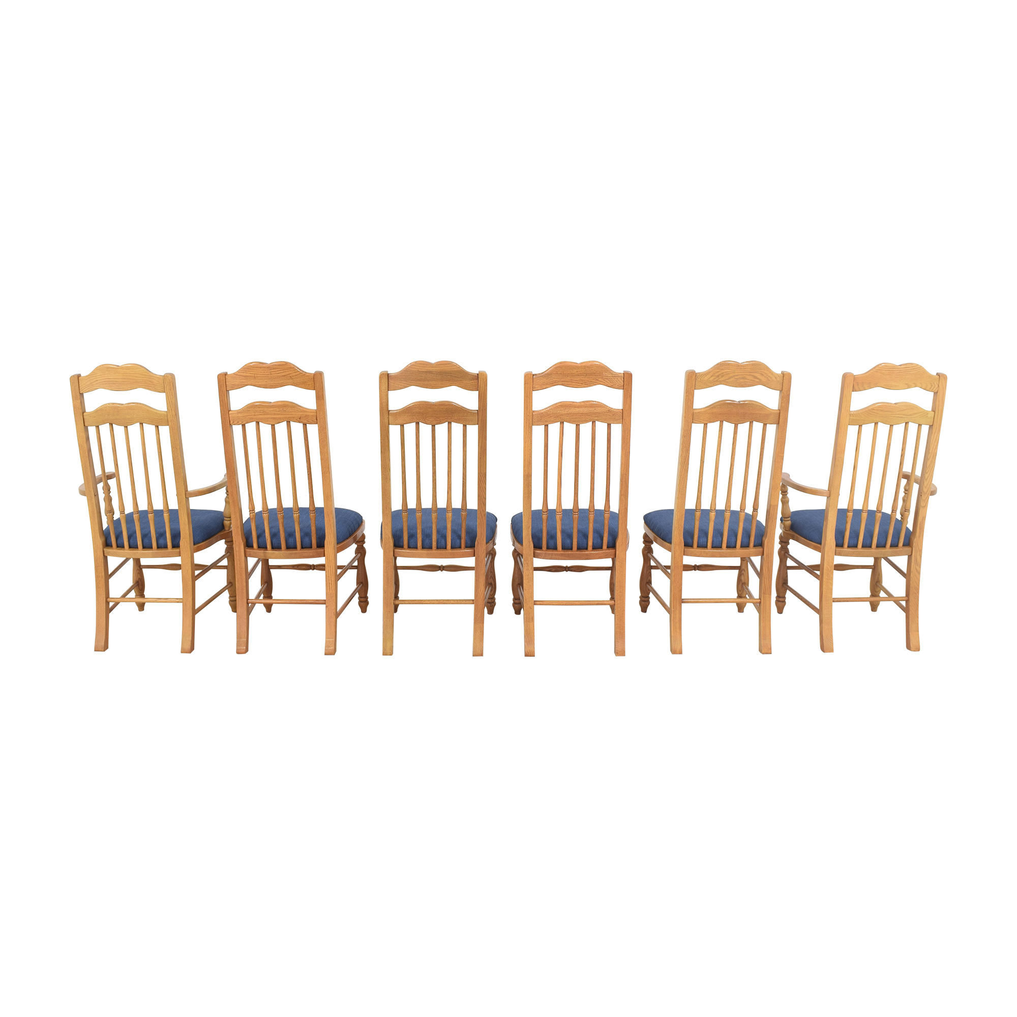 Thomasville Thomasville High Back Dining Chairs blue and light brown