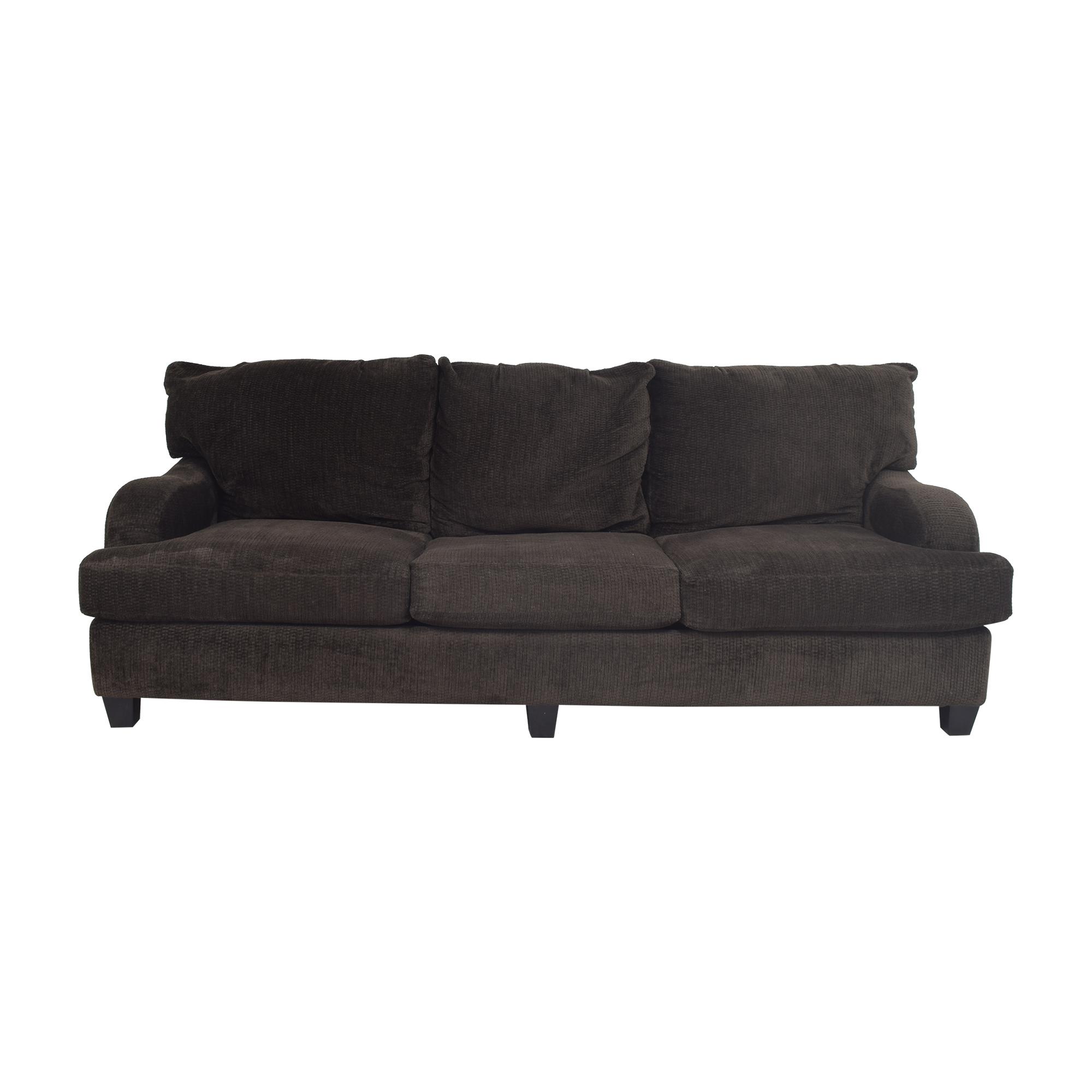 Raymour & Flanigan Raymour & Flanigan Three Cushion Sofa dark brown
