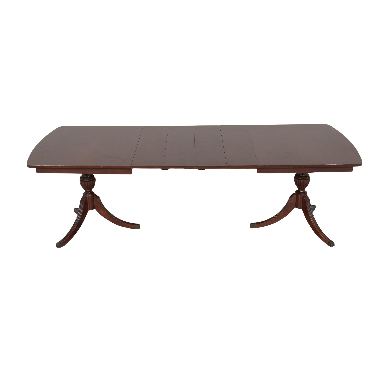 RWAY RWAY Double Pedestal Dining Table dark brown