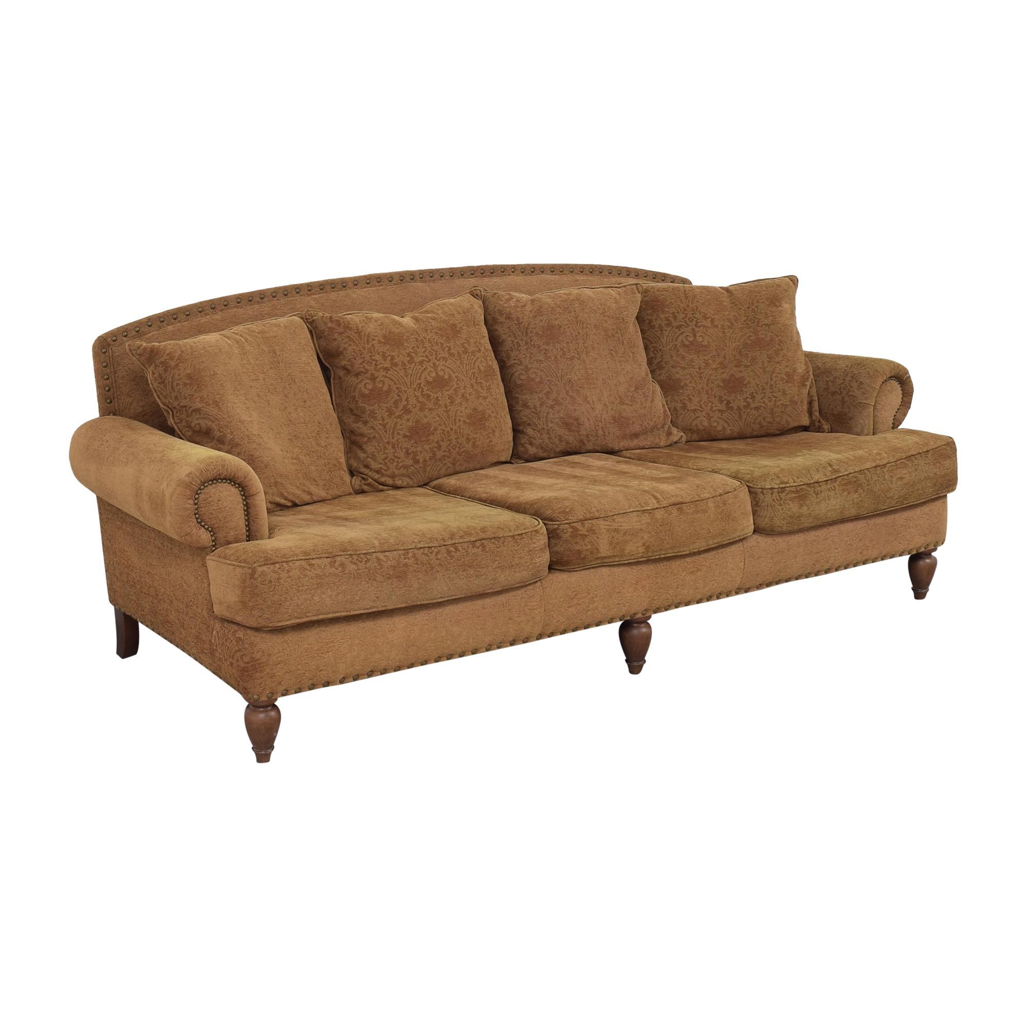 Bernhardt Bernhardt Three Cushion Roll Arm Sofa brown