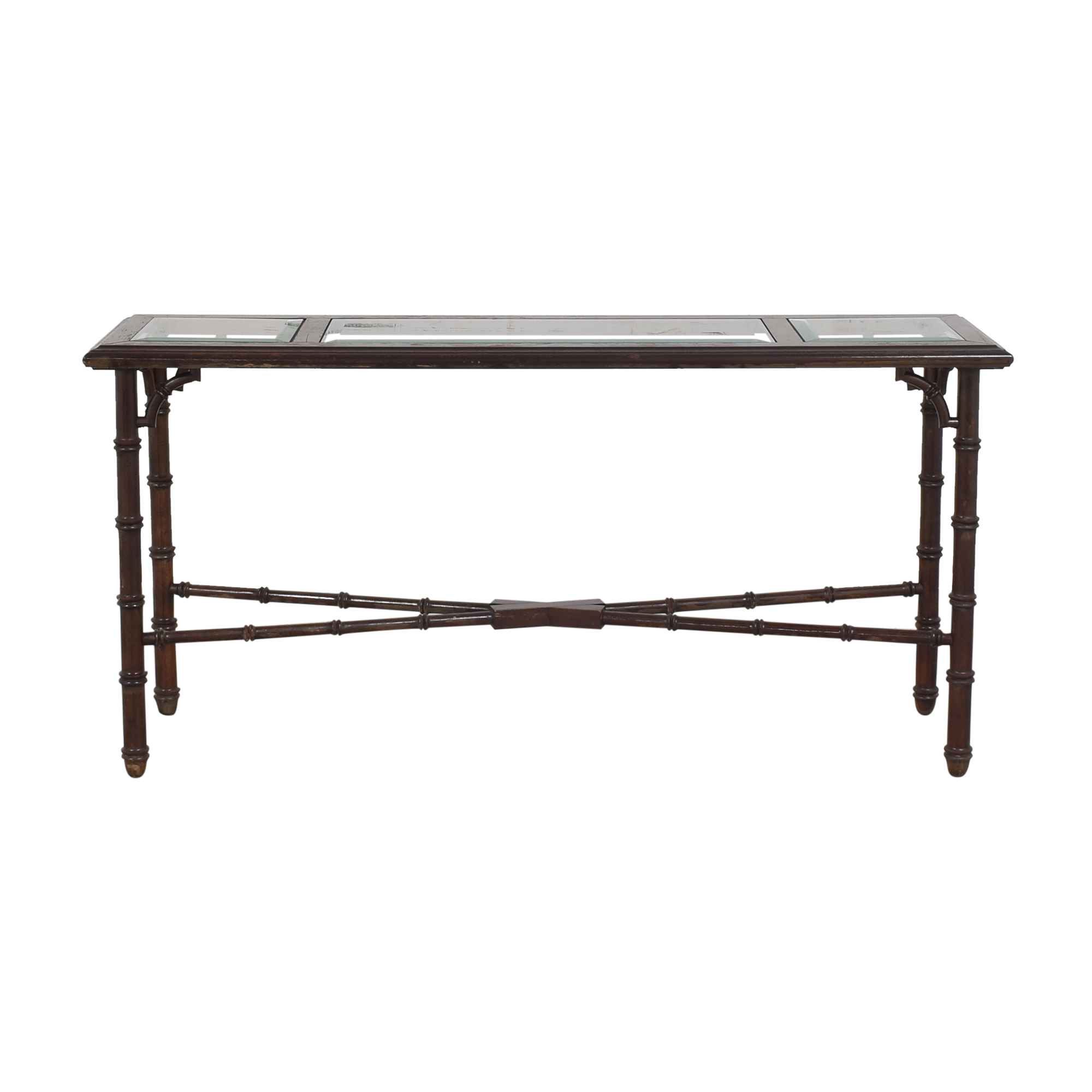 Bamboo-Style Console Table dark brown