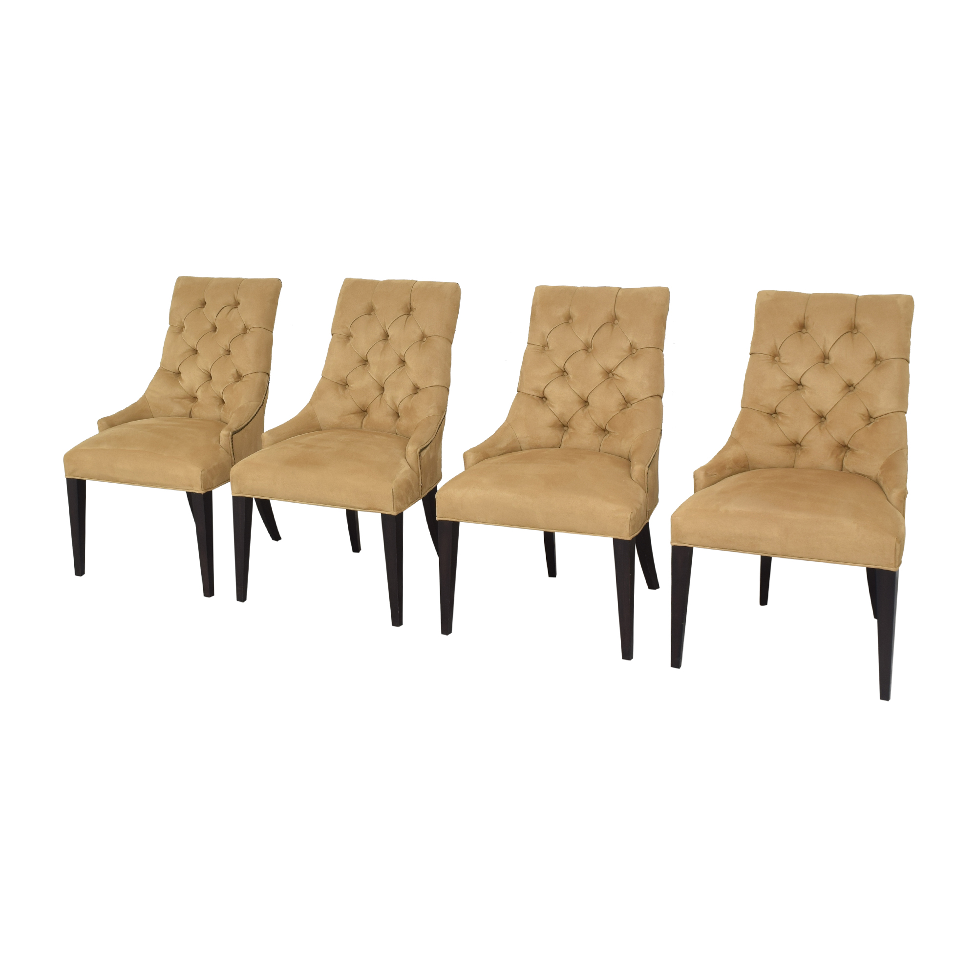 Restoration Hardware Restoration Hardware Martine Tufted Dining Armchairs tan and dark brown
