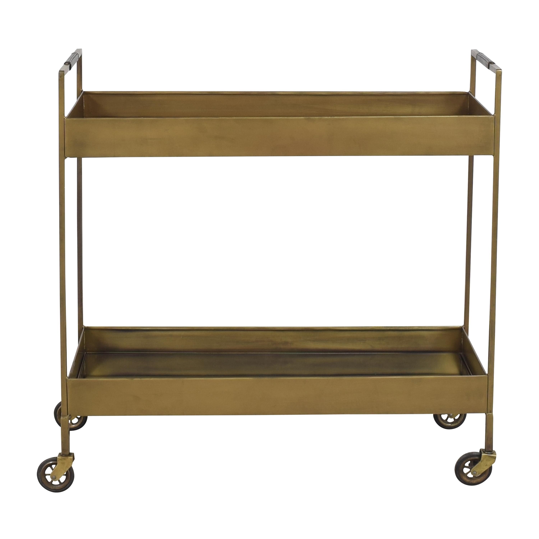 Crate & Barrel Crate & Barrel Libations Antique Brass Bar Cart second hand