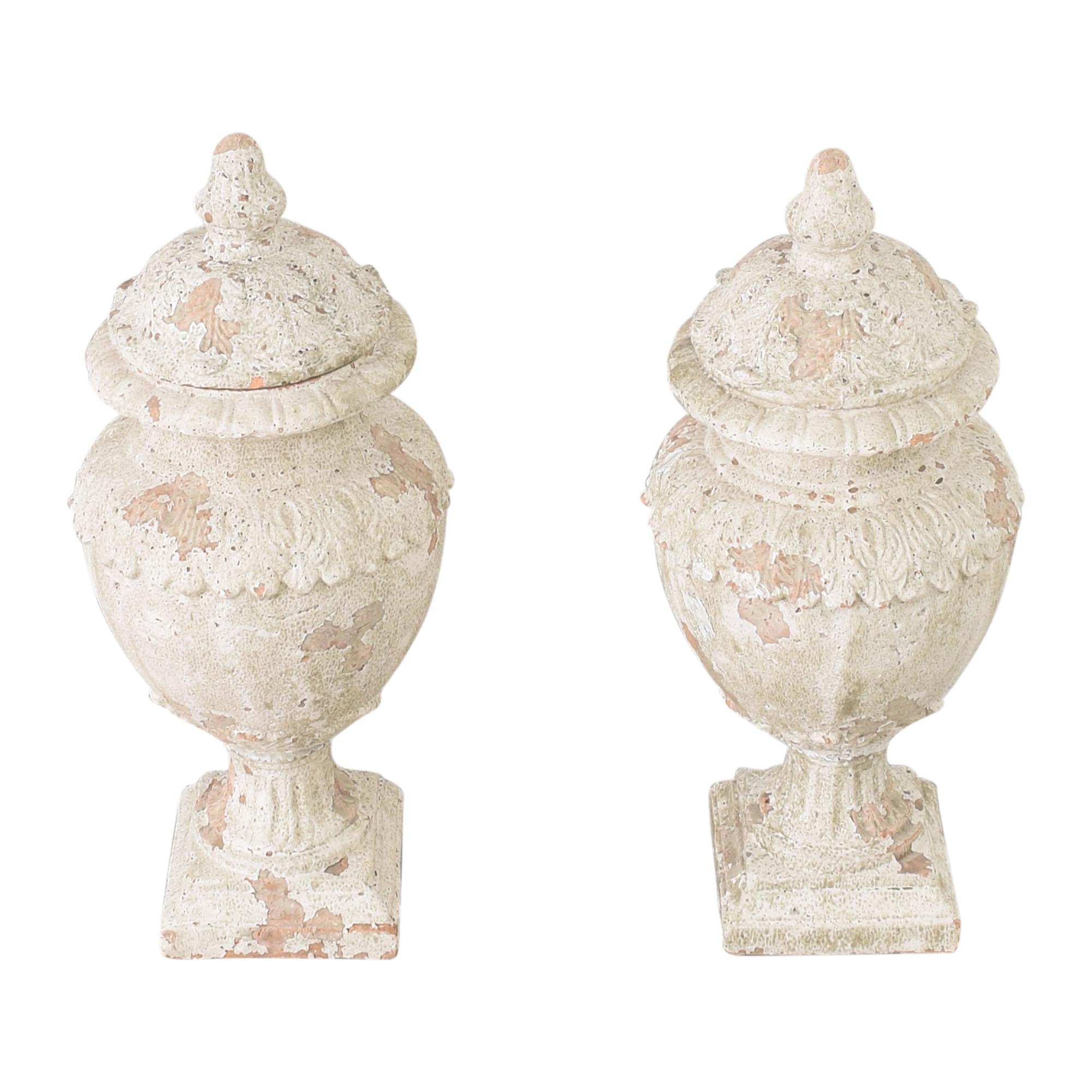 Decorative Distressed Urns Decor