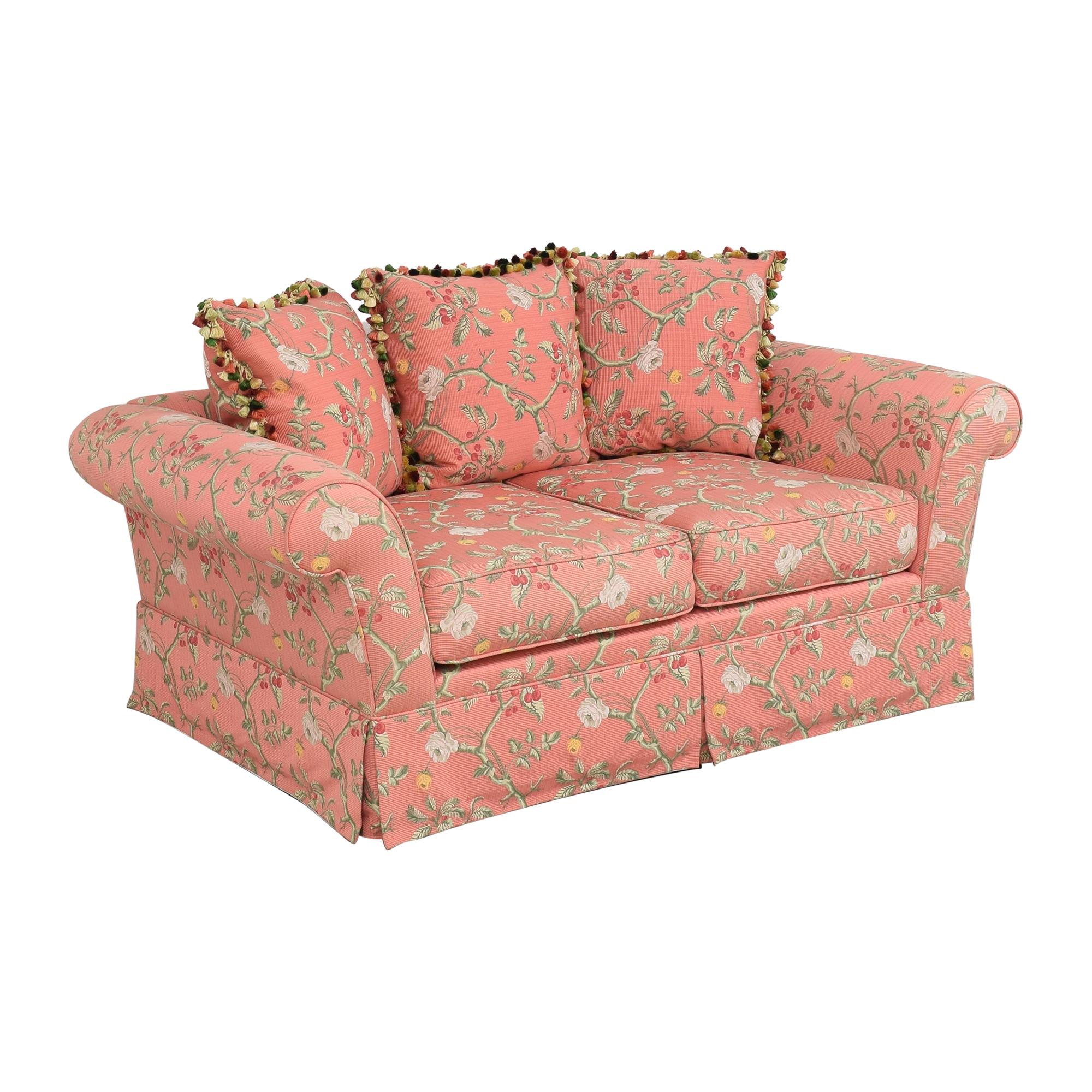 Custom Skirted Two Cushion Sofa dimensions