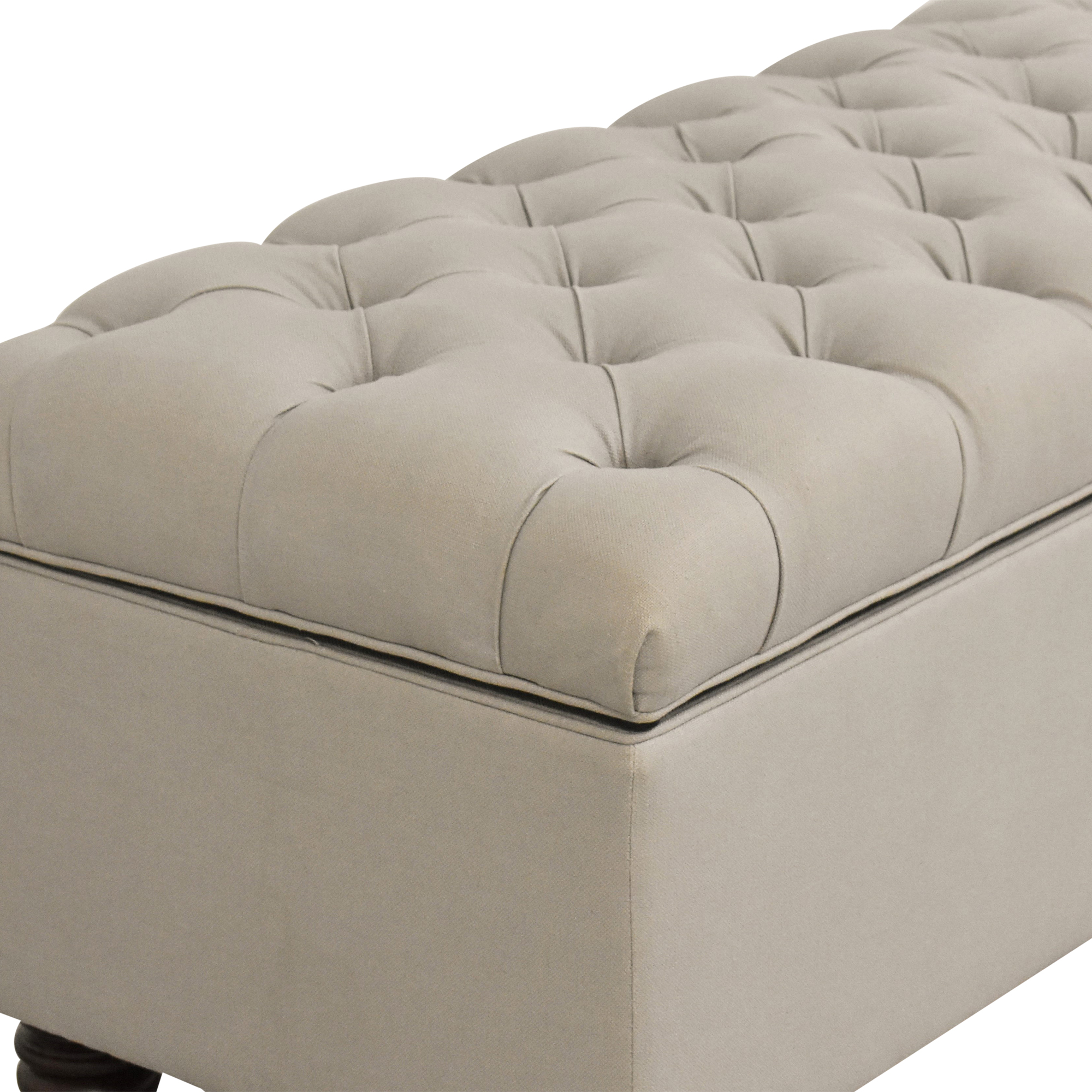 Pottery Barn Pottery Barn Lorraine Tufted Upholstered Queen Storage Bench on sale