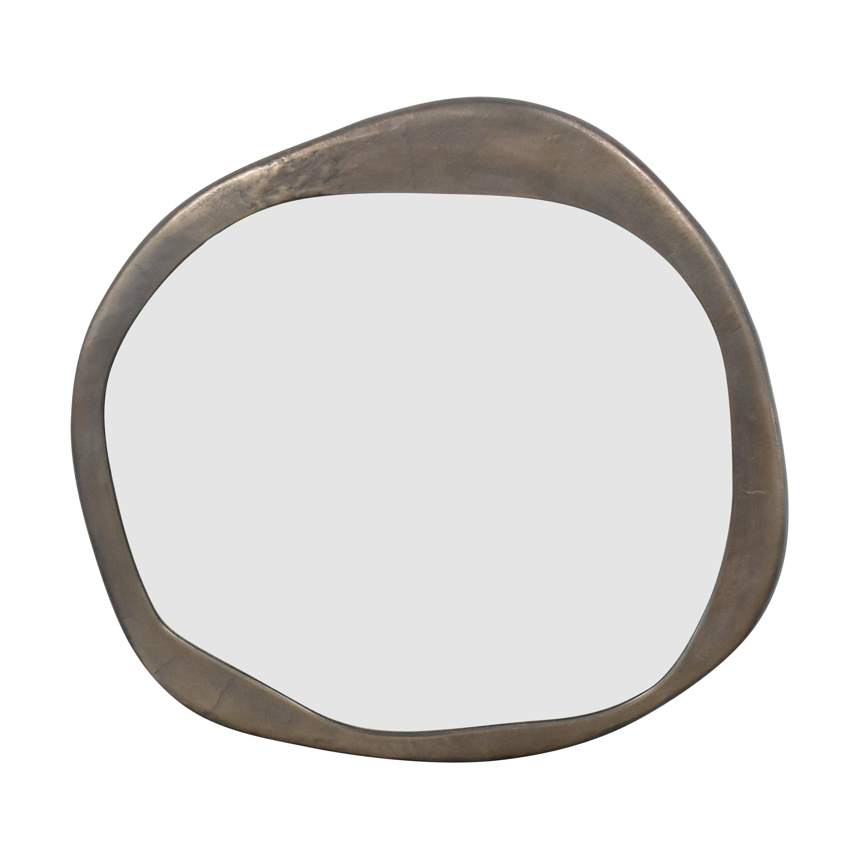 Crate & Barrel Element Round Gunmetal Wall Mirror Crate & Barrel