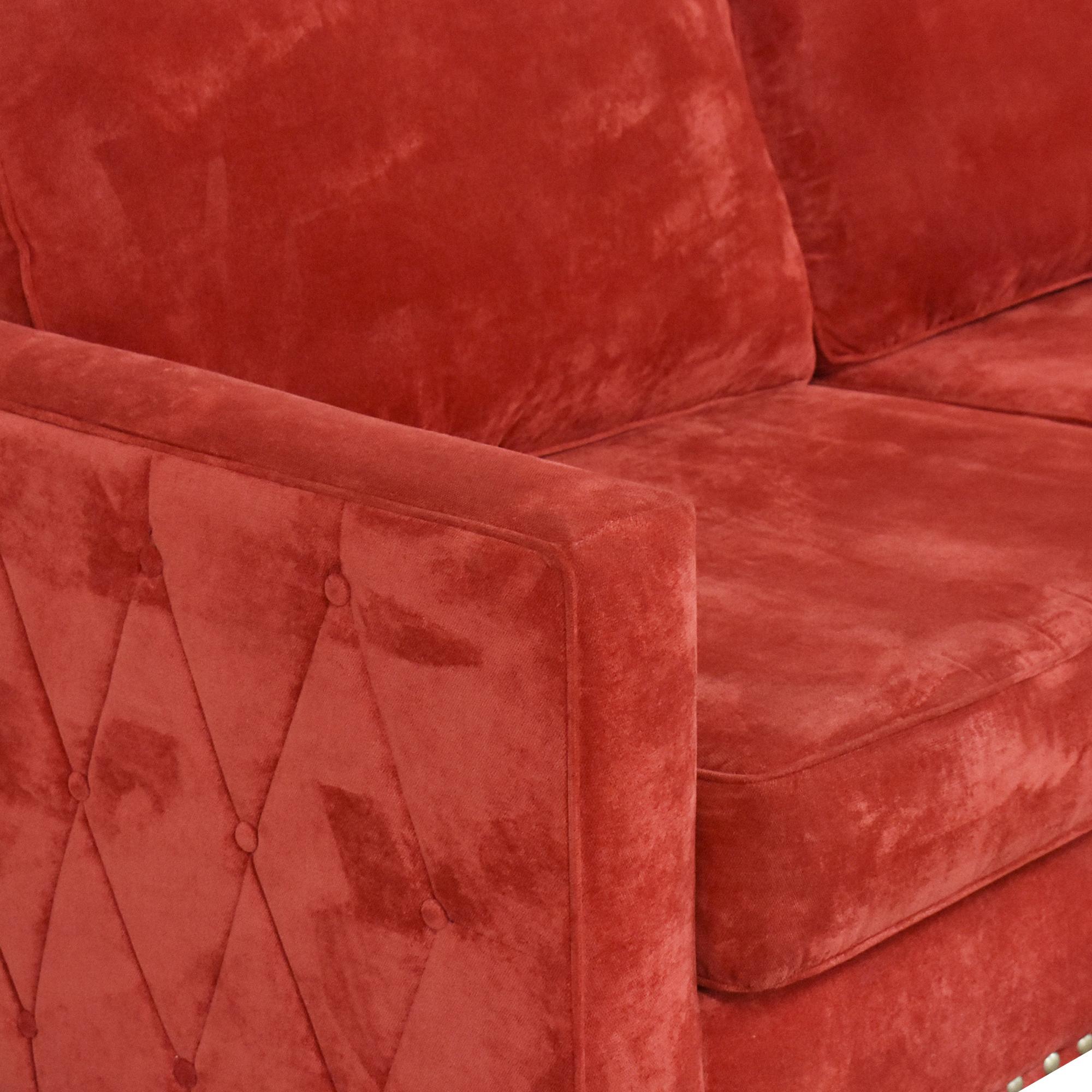 May Furniture May Furniture Nailhead Diamond Tufted Sofa ct