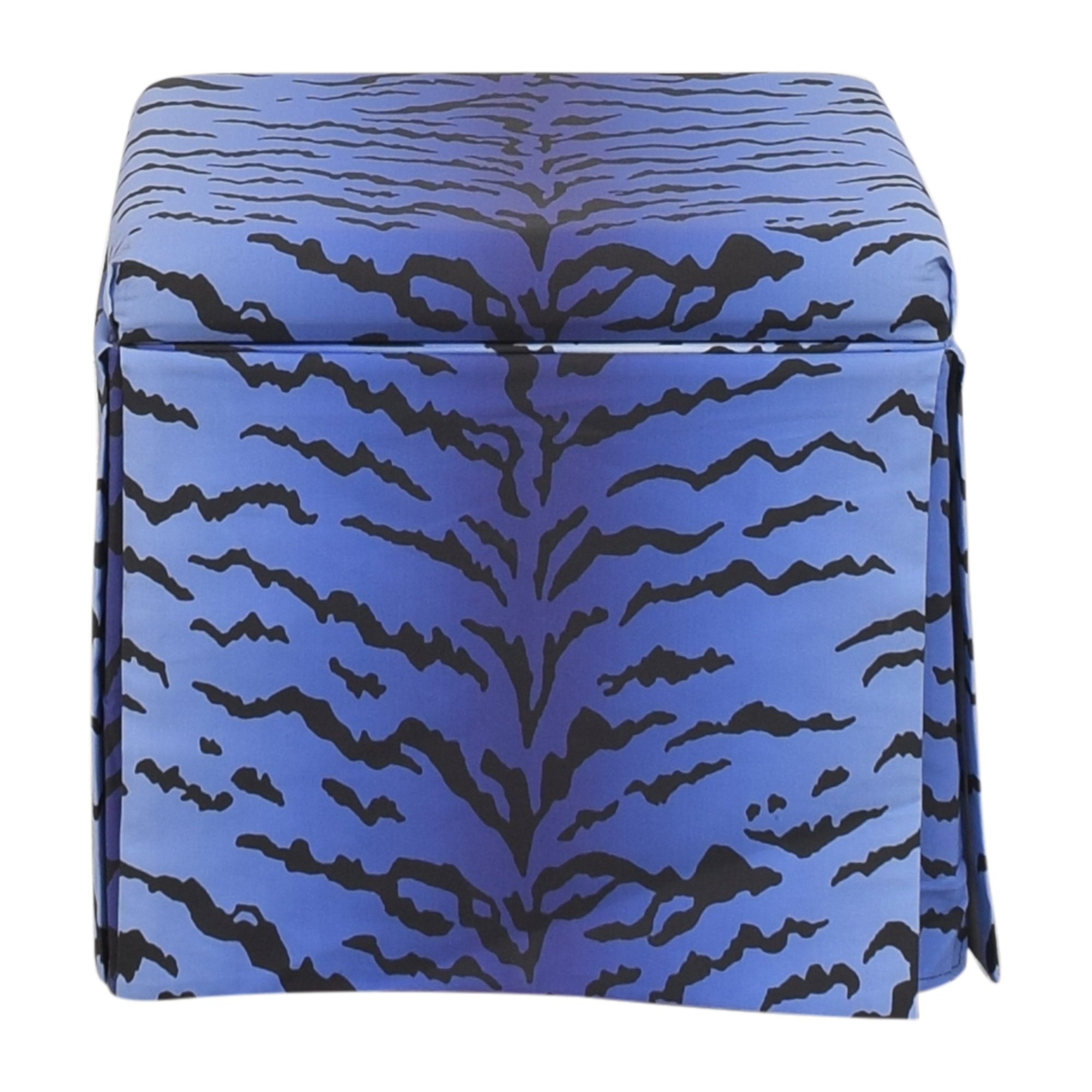 The Inside The Inside Royal Tiger Skirted Storage Ottoman blue