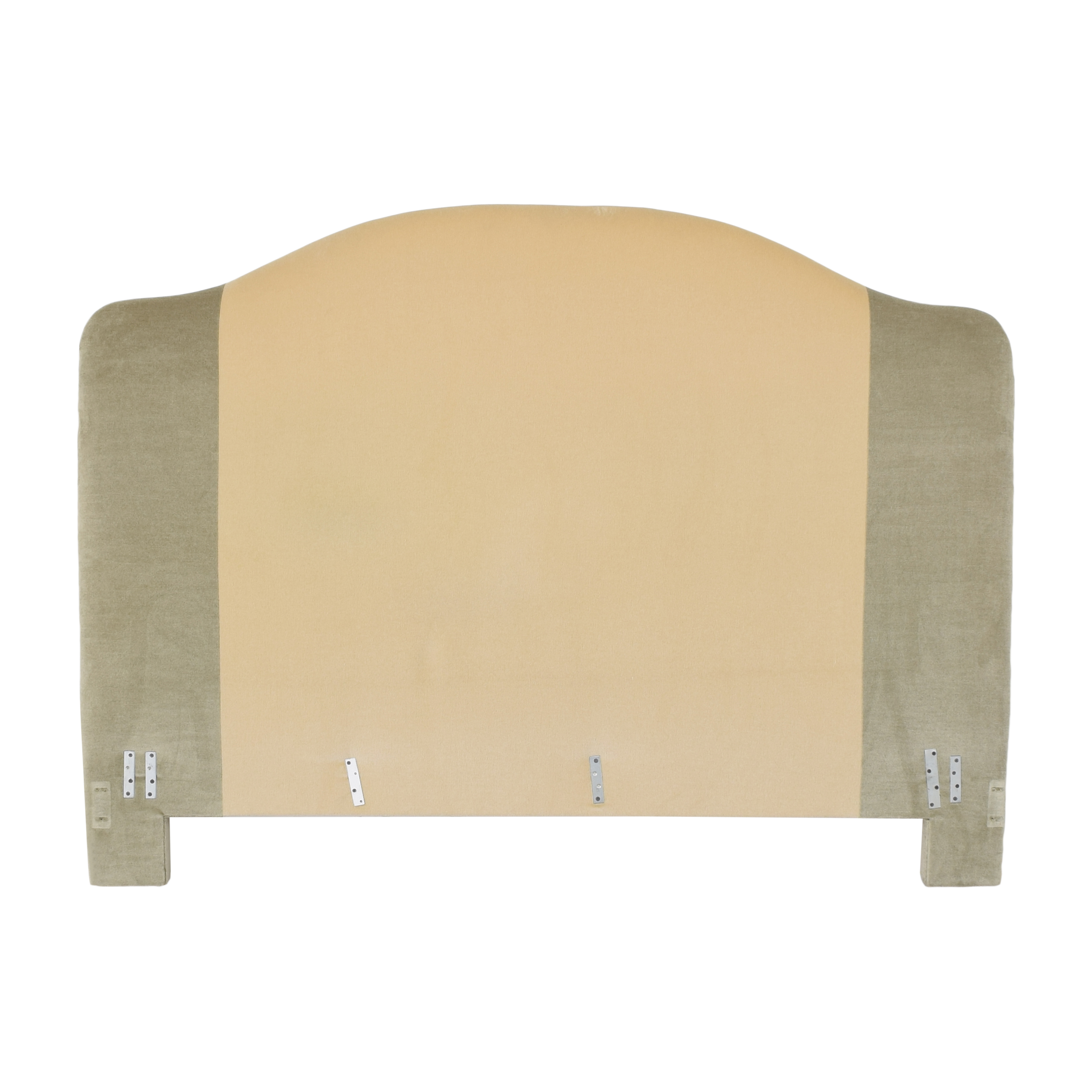 Custom Camelback Upholstered Headboard cream and green