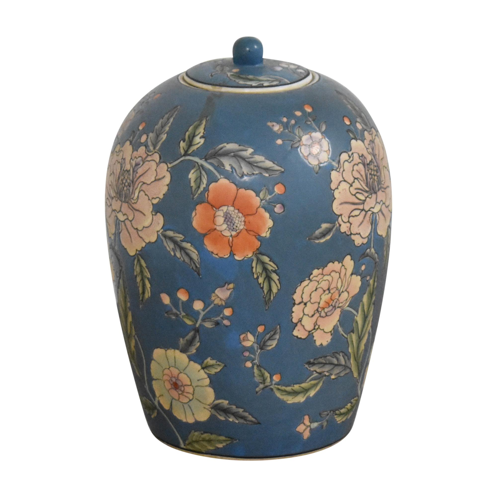 Large Decorative Floral Urn Decorative Accents