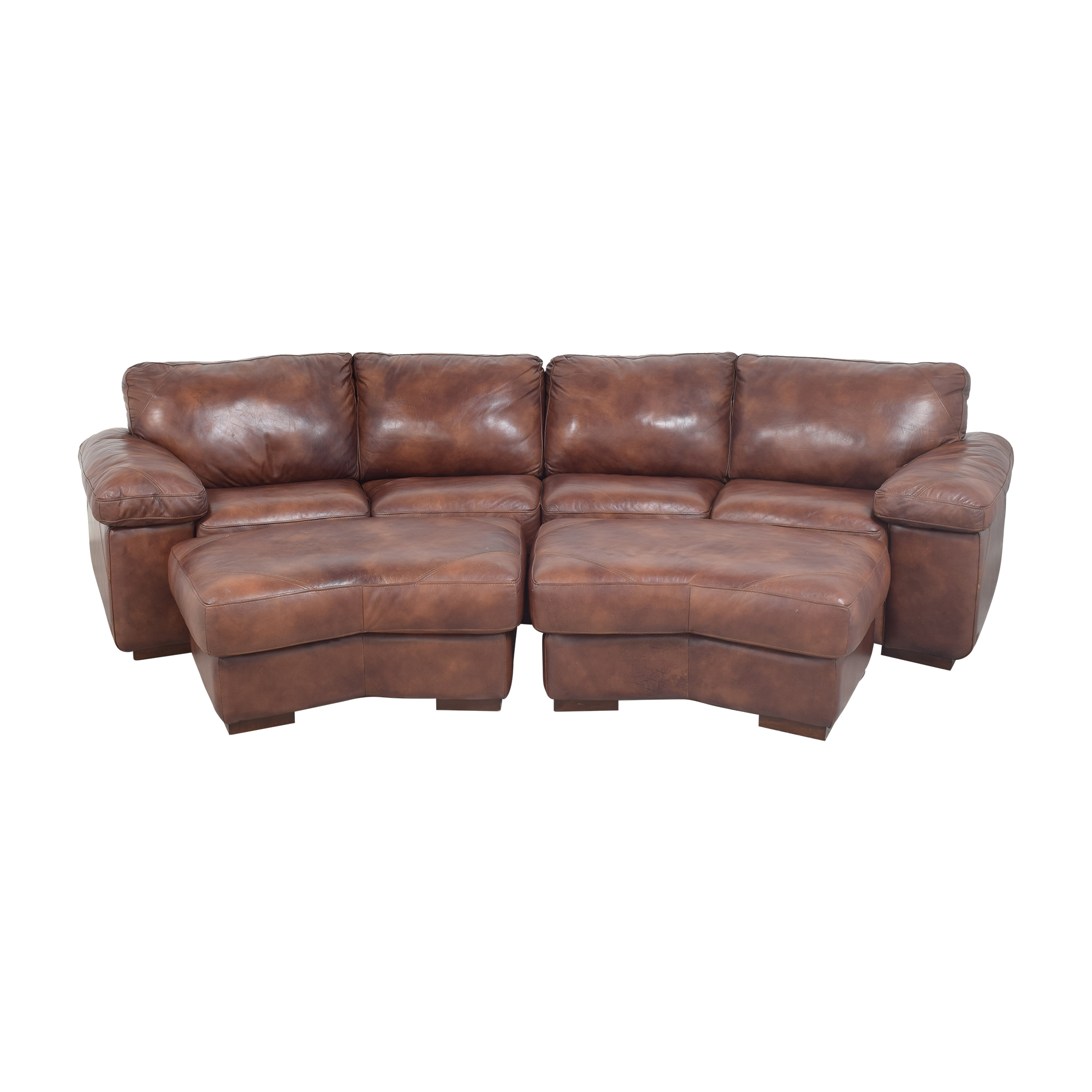 Bassett Two Piece Sectional Sofa with Ottomans Bassett Furniture