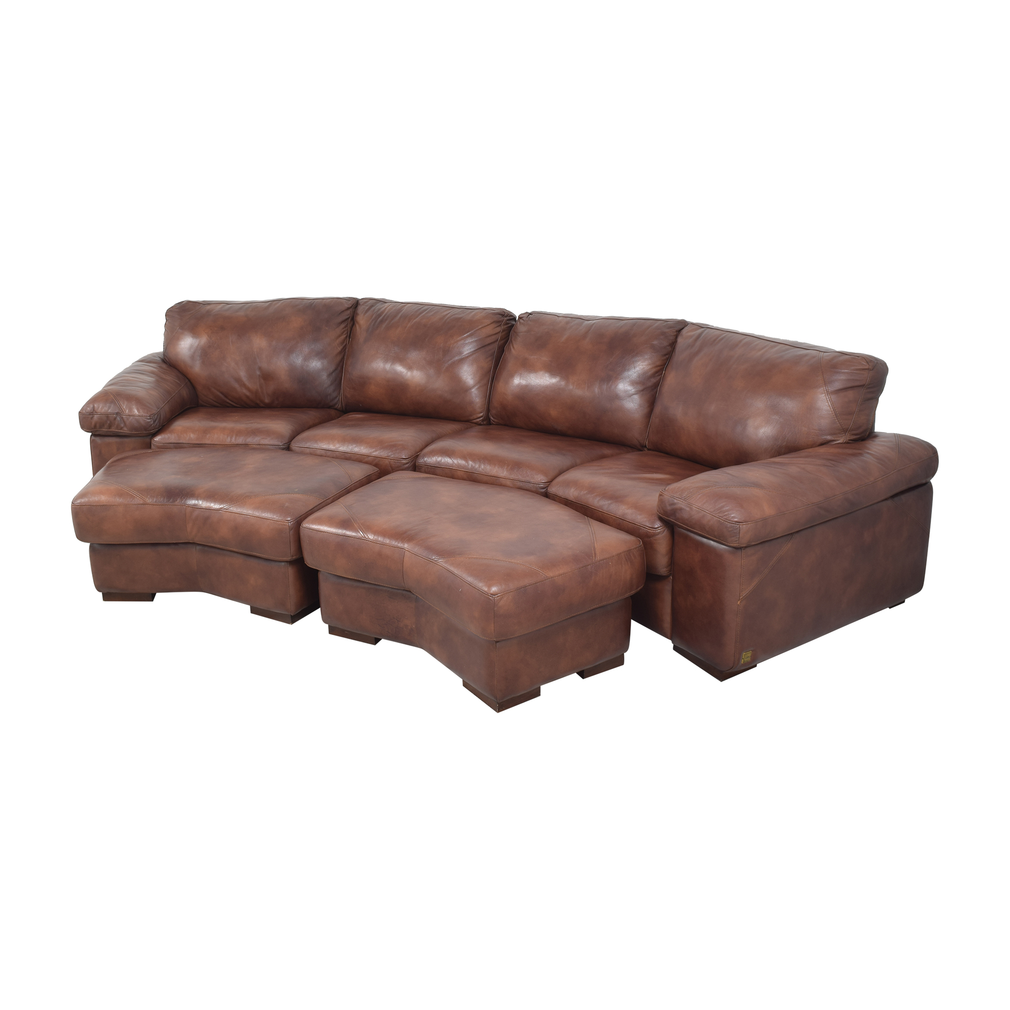 buy Bassett Two Piece Sectional Sofa with Ottomans Bassett Furniture Sectionals